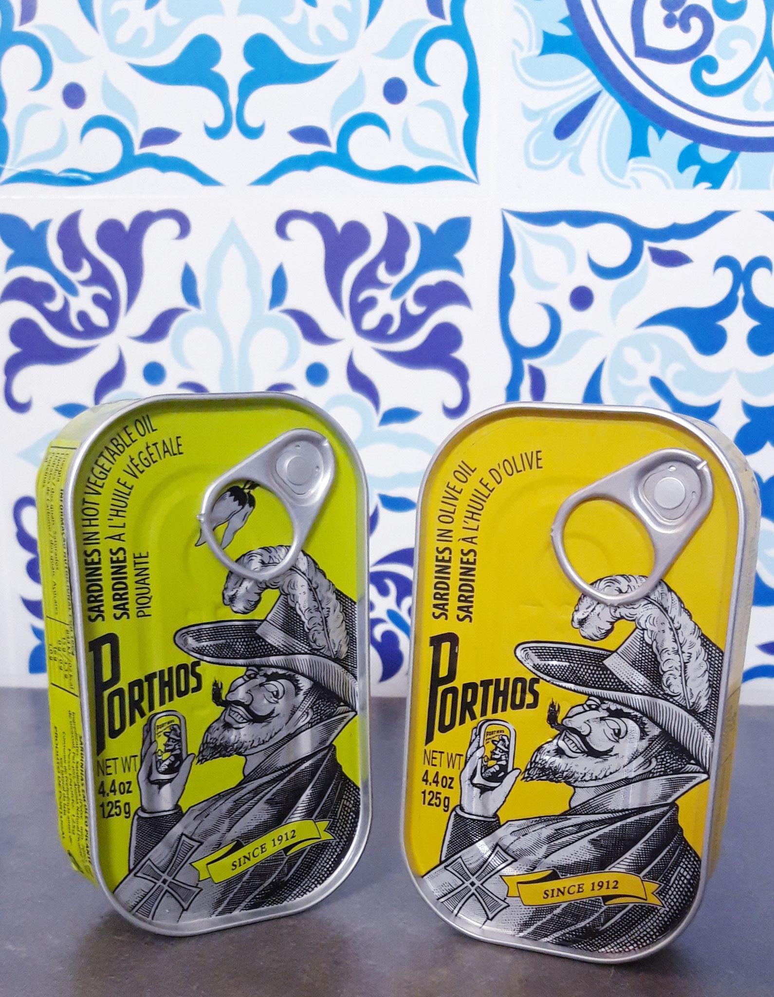 PORTHOS Sardines Huile d'Olive et Sardines Huile Piquante