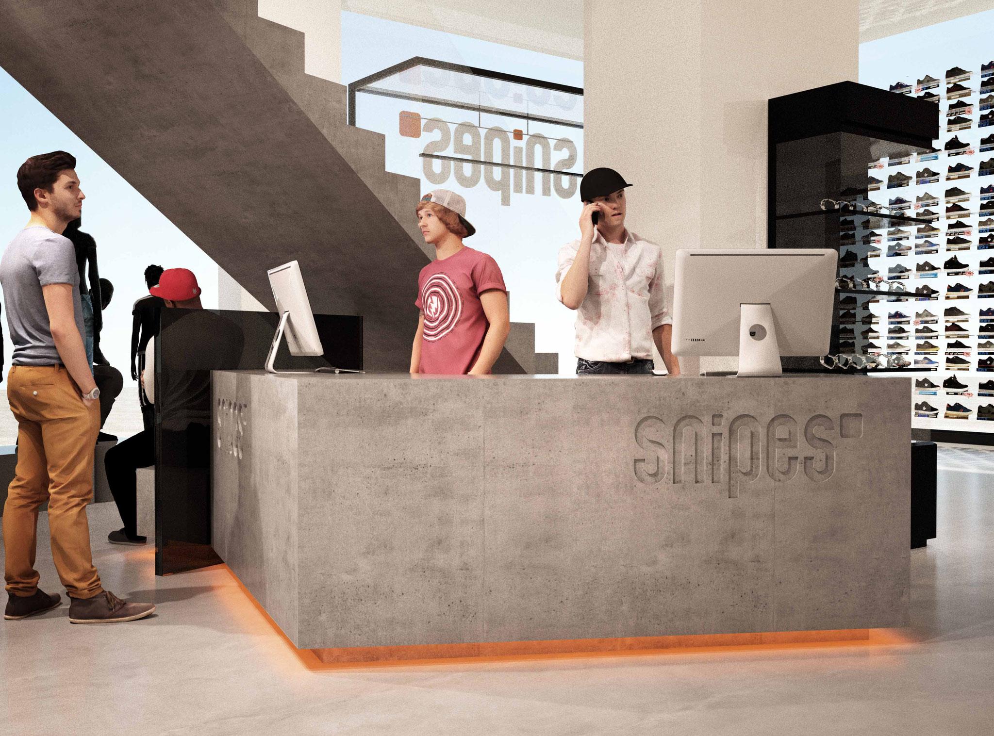 Visualisierung SNIPES Foyer | Entwurf Jürgen Kalcher-Rothenstein