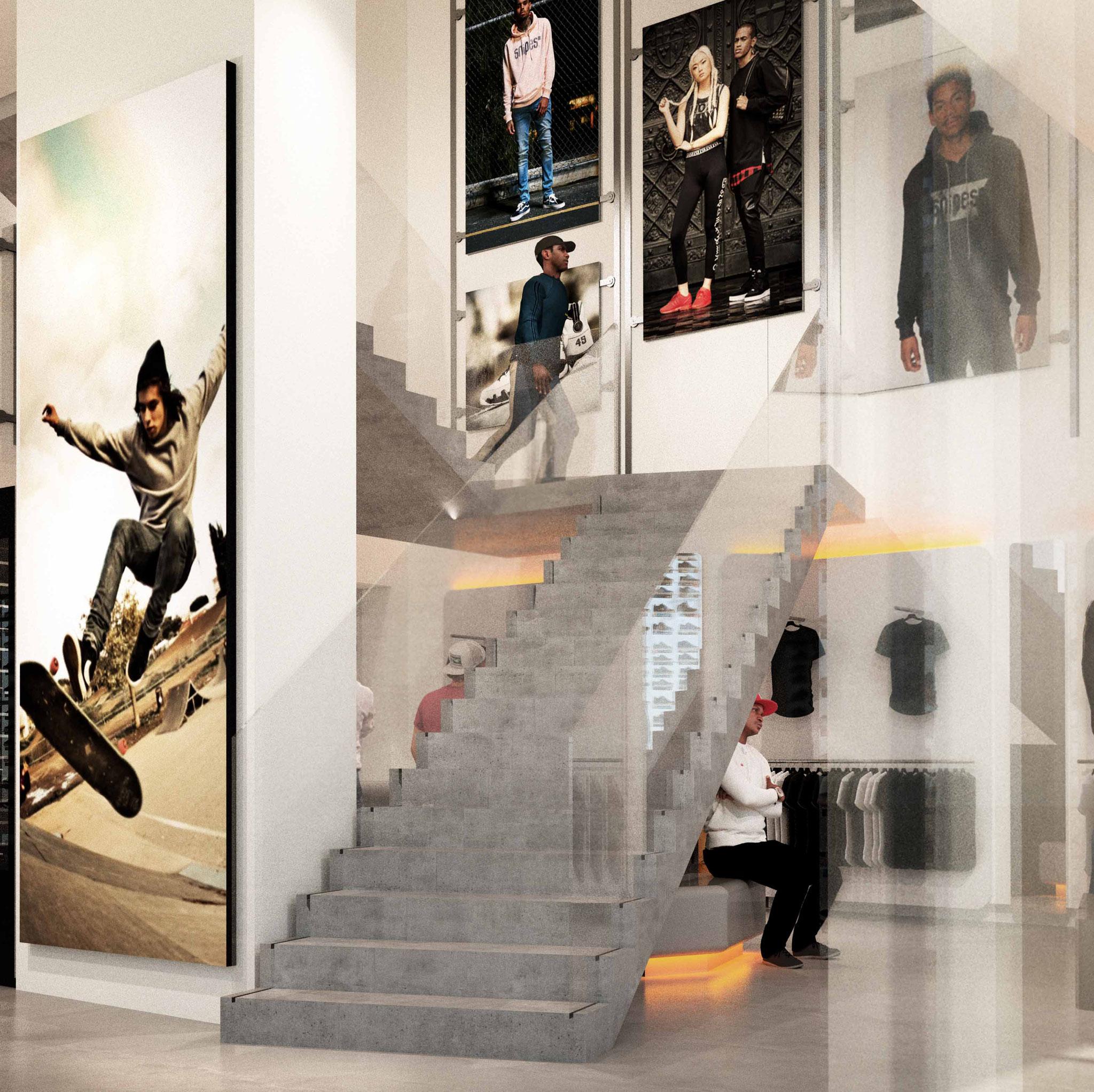Visualisierung SNIPES Foyer | Stiegenentwurf Jürgen Kalcher-Rothenstein