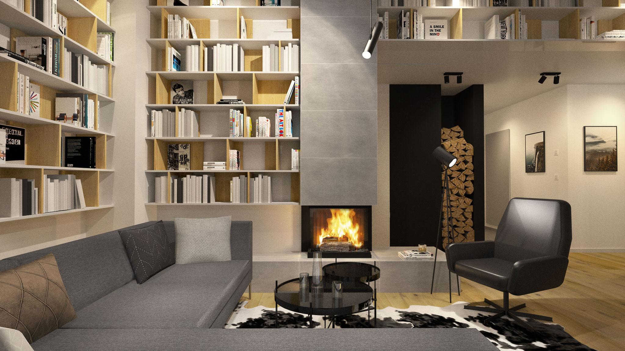 Haus W., Wettmannstätten, Wohnzimmer mit Kamin