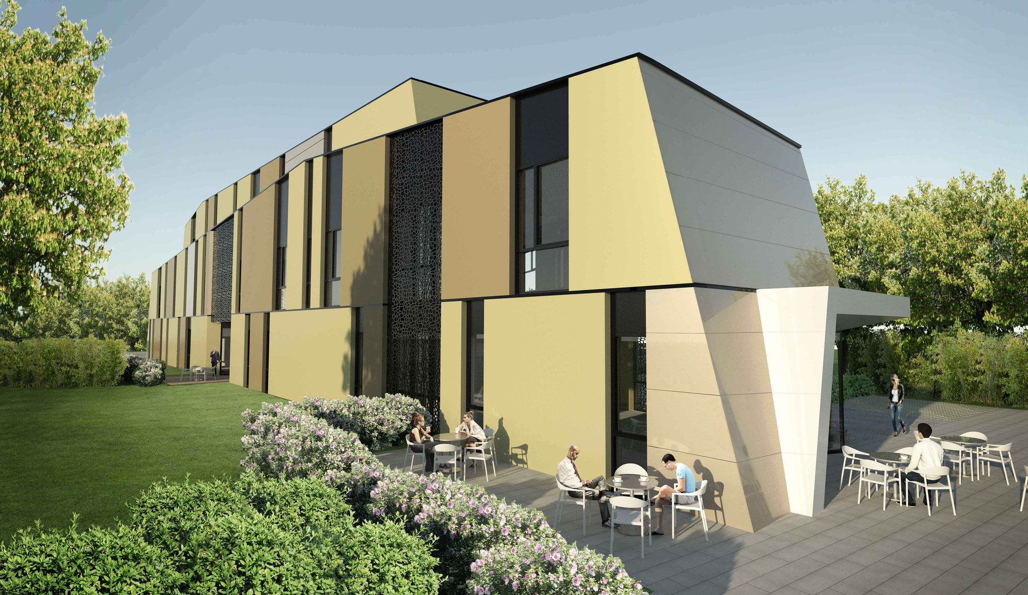 Visualisierung Ärztenzentrum Dobl-Zwaring Cafeterrasse
