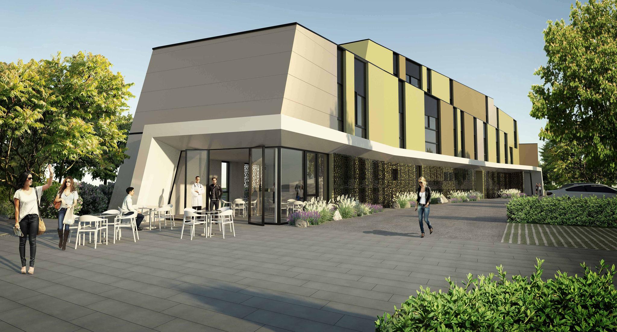 Rendering Ärztezentrum Dobl-Zwaring für Architekturbüro Harich ZT GmbH, Feldkirchen bei Graz