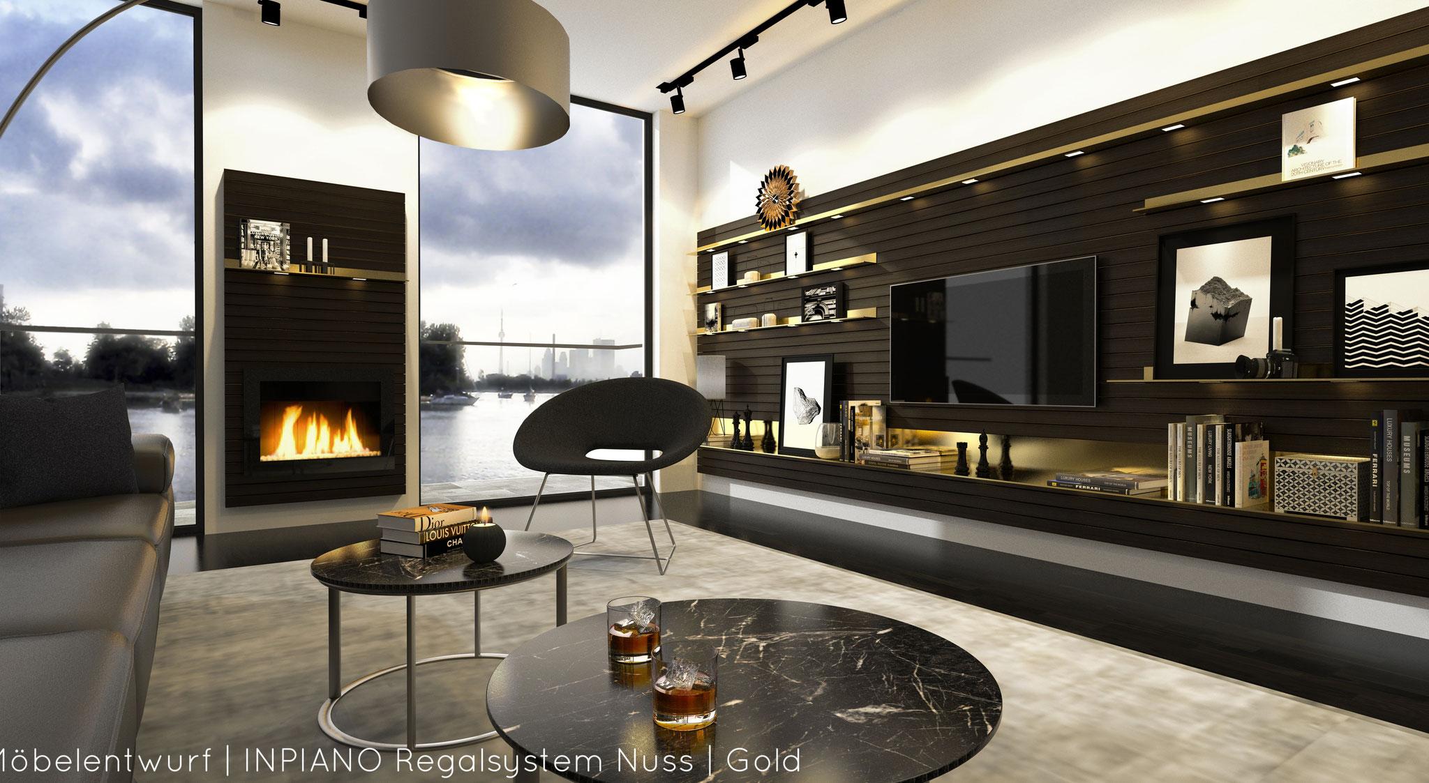 Möbelentwurf | INPIANO Regalsystem Nuss | Gold