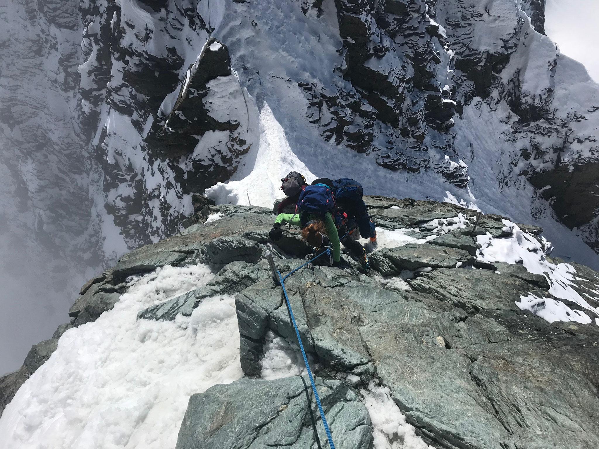 Schöne Kletterei (II) zum Gipfel