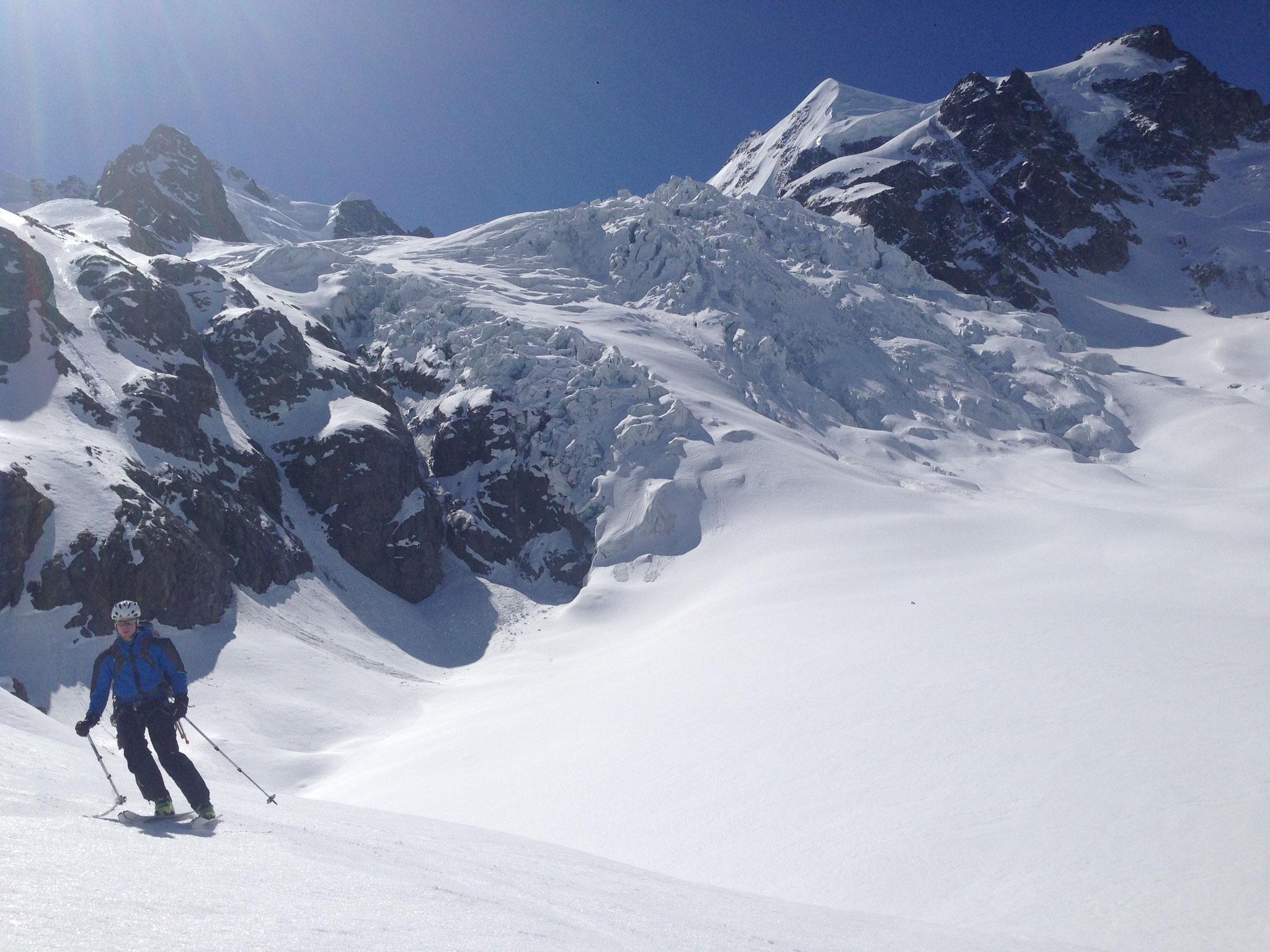 Abfahrt über den Tschierva Gletscher