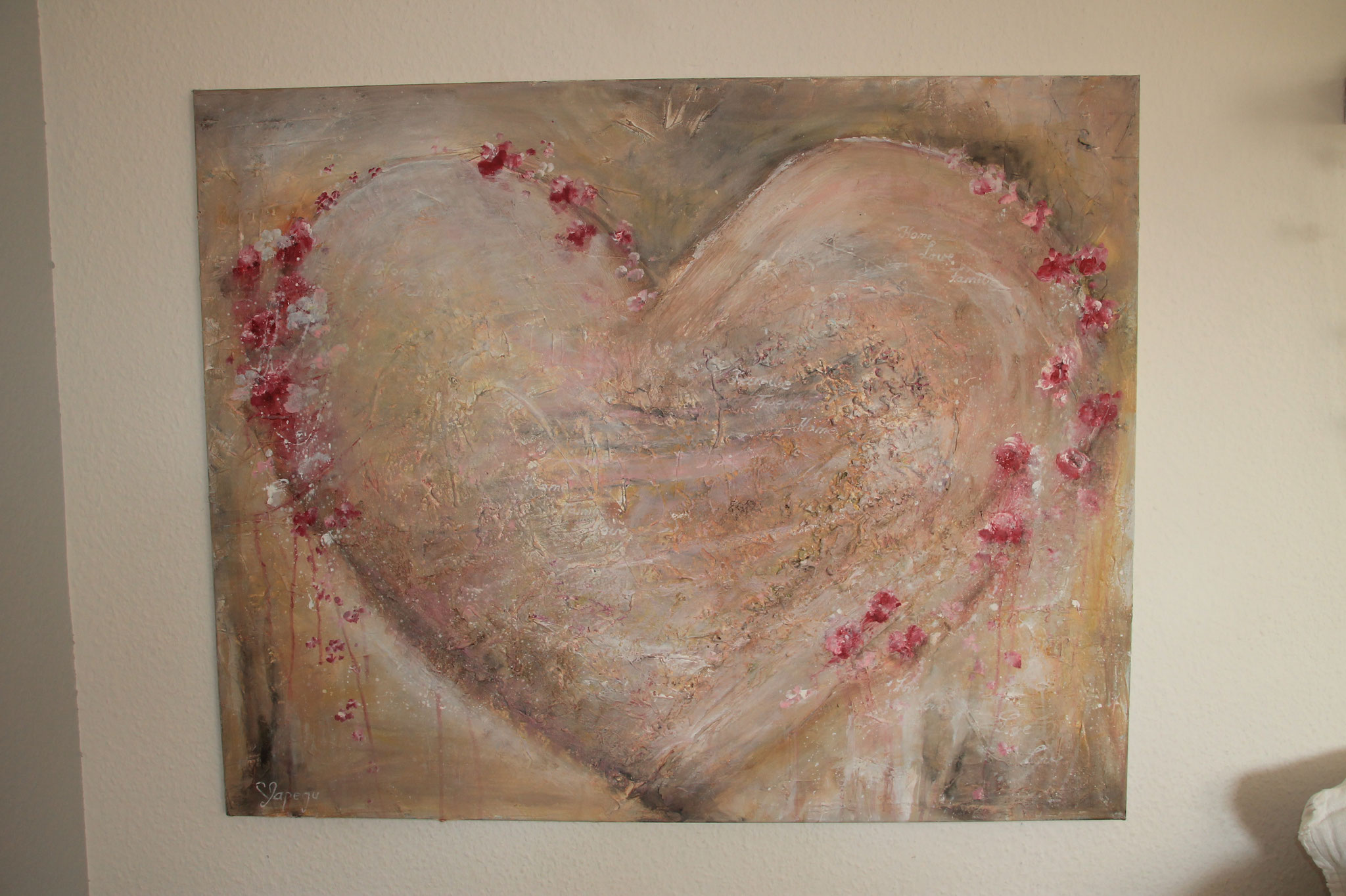 80 x 100 cm Acryl, Paste und Tee  auf Leinwand