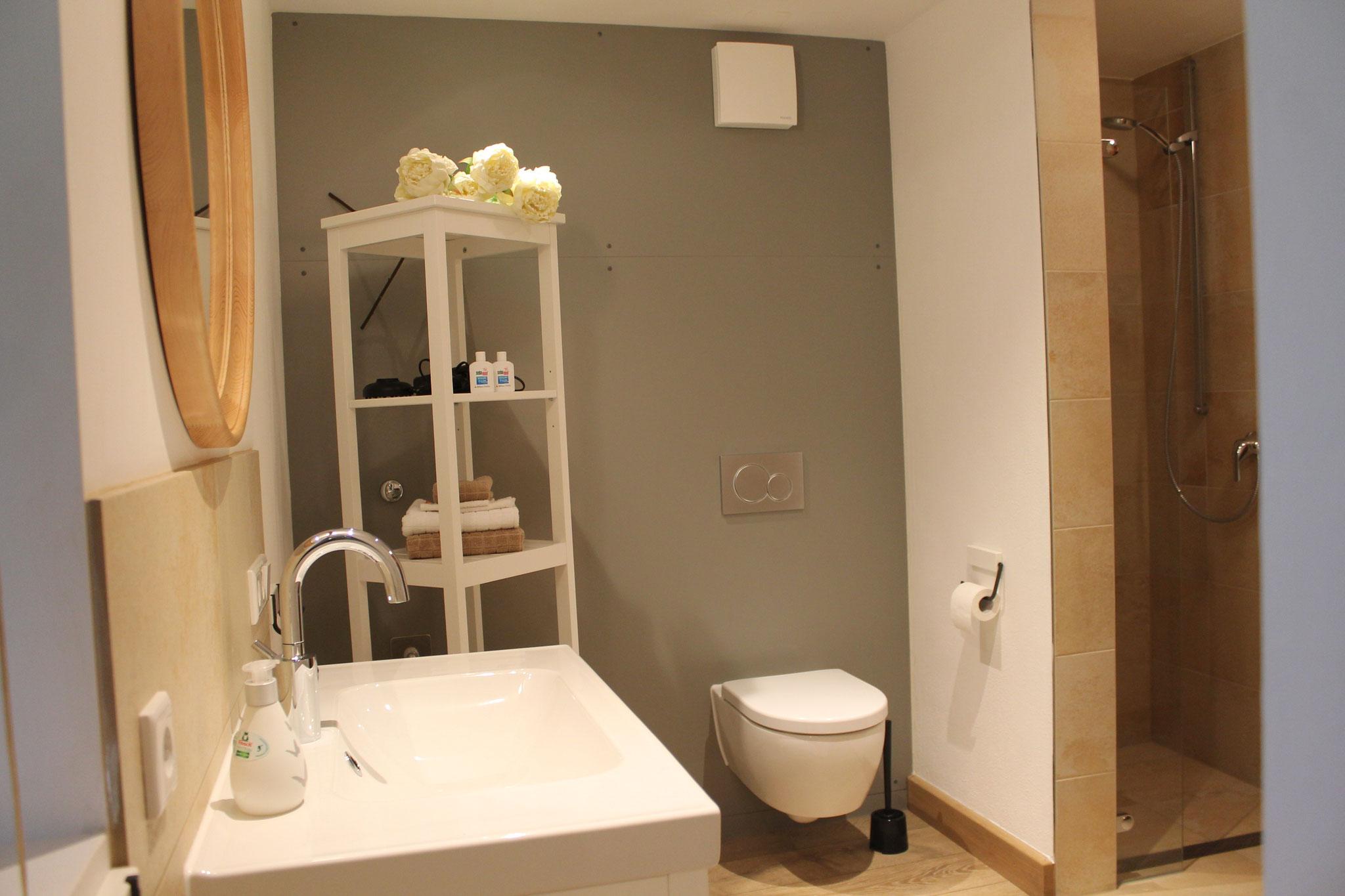 helles geräumiges Badezimmer mit Dusche
