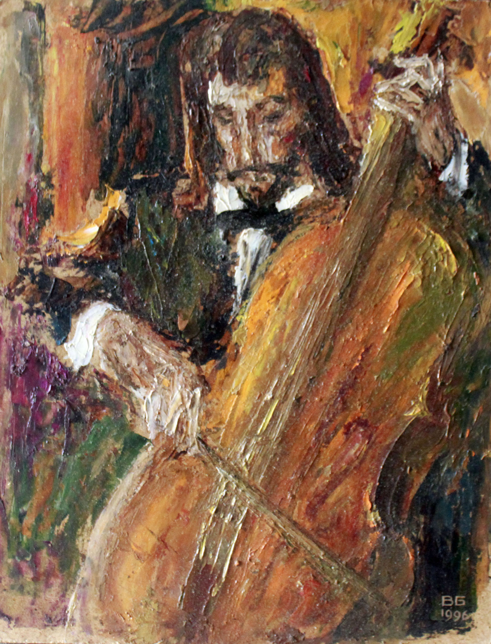 Музыкант.   30х24 см.      Картон, масло.       1990-е годы.
