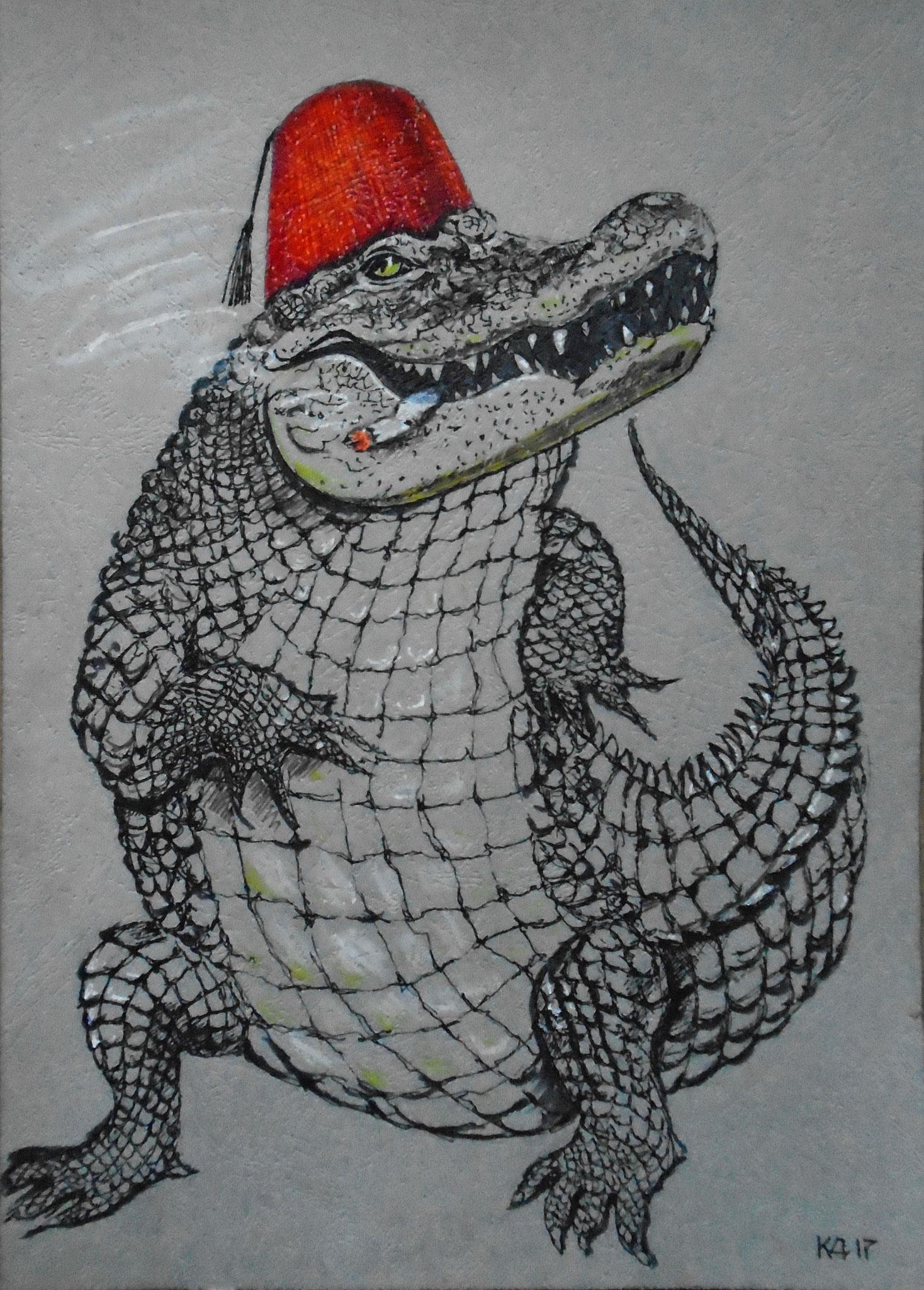 Катя Дерун.      Крокодил, крокодил, крокодилович.     2017 г.    Картон, гелев. ручка