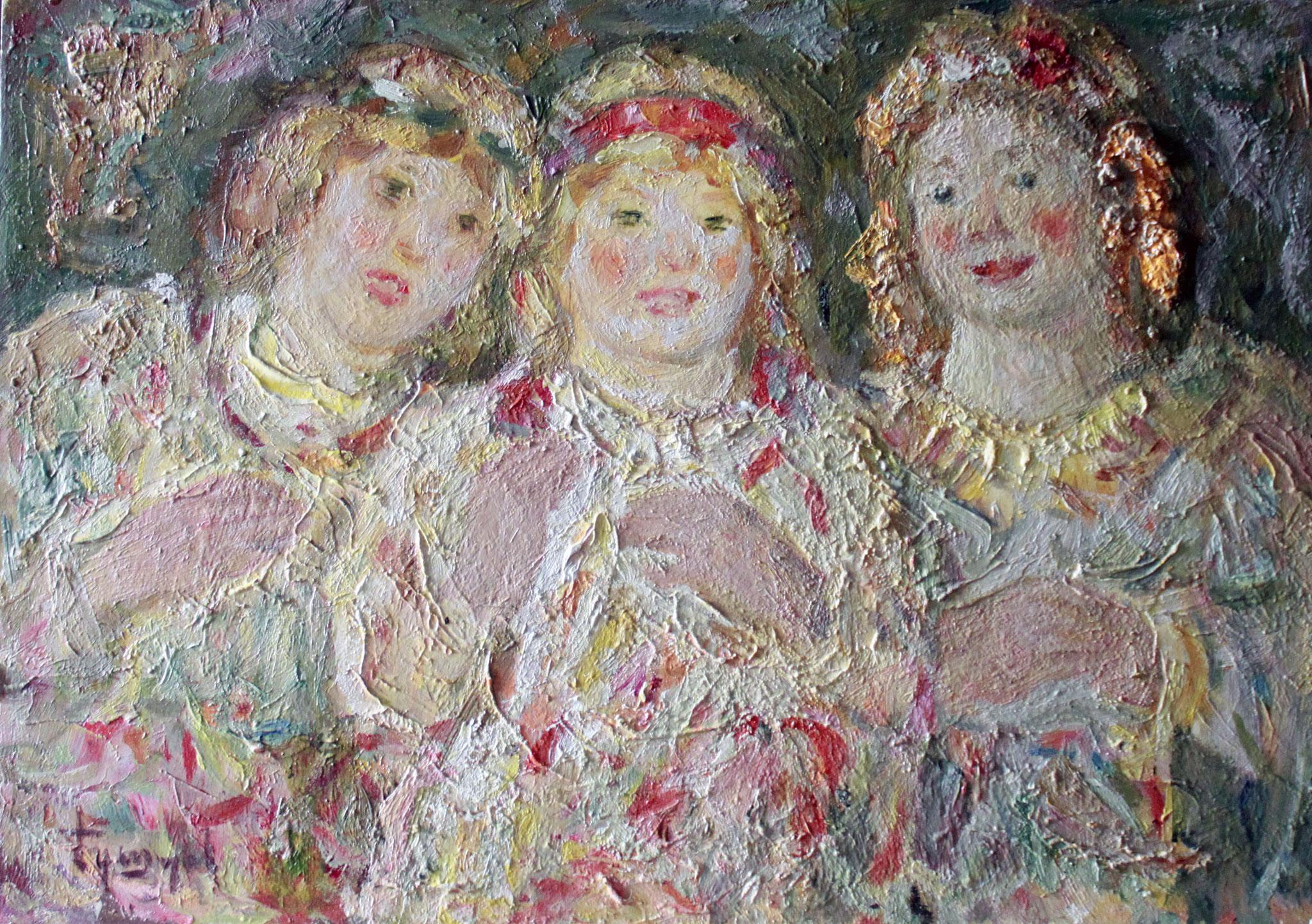 Три девицы.     25х36 см.      Картон, масло.       1990-е годы.