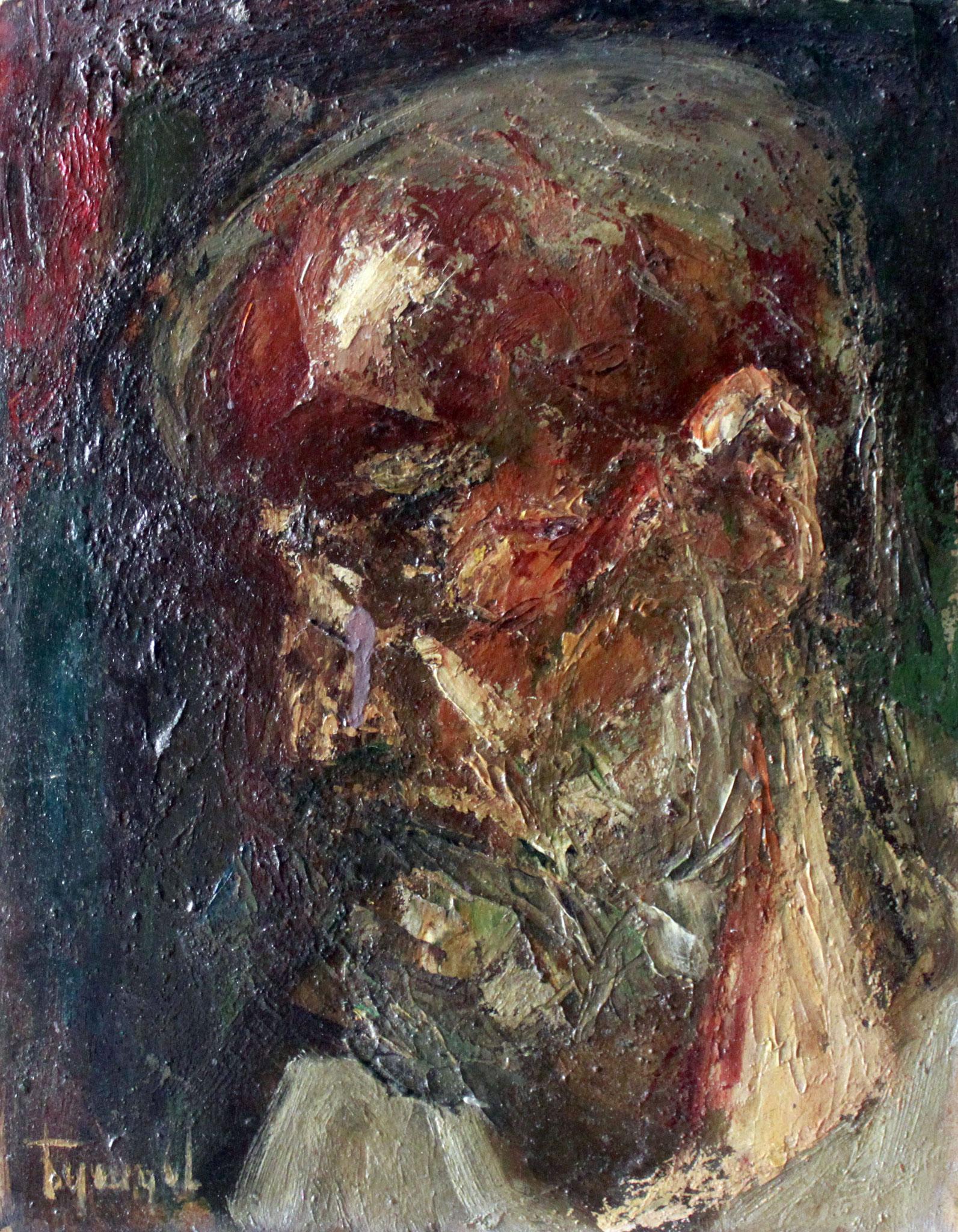 Голова мужчины.     23х30 см.      Картон, масло.       1990-е годы.