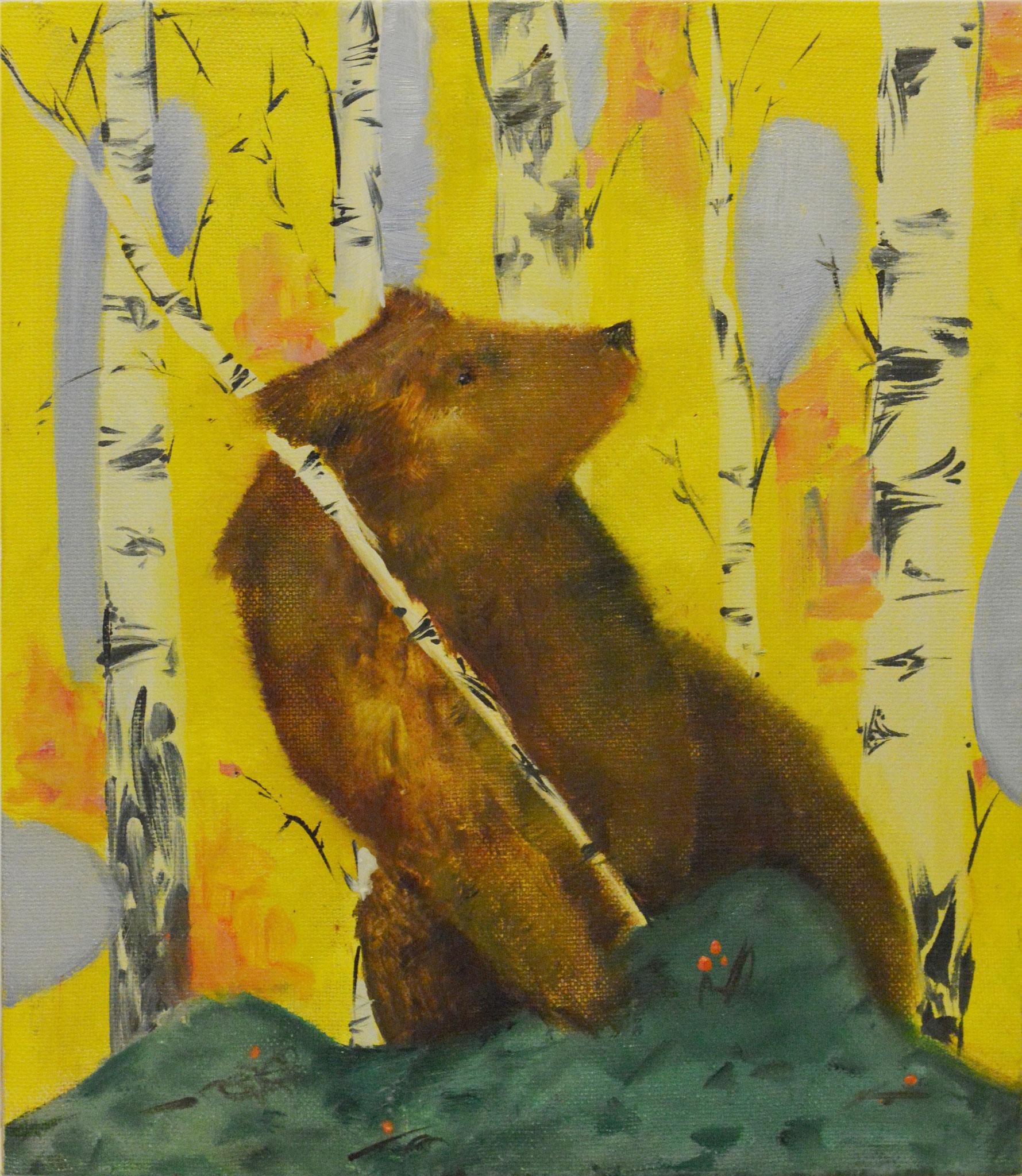 Люся Краскова.      Но медведю воевать неохота.      2017 г.      Холст, масло.     30х35 см.