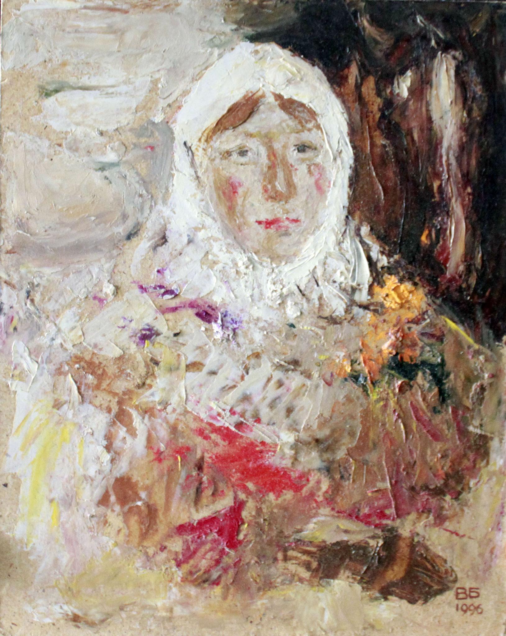 Женщина в платке.     24х30 см.      Картон, масло.       1990-е годы.