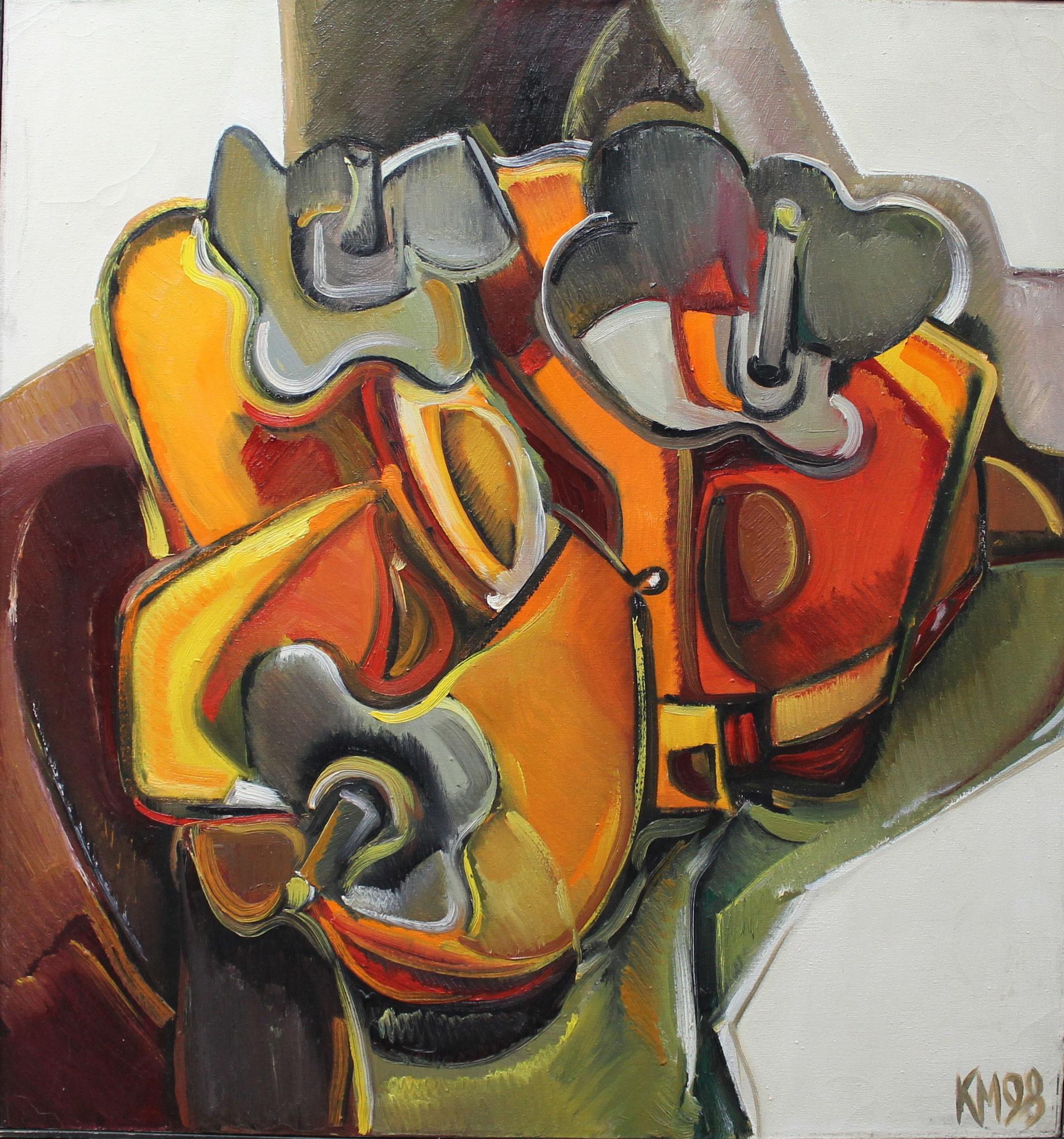 Срез форм (Хурма).         1998 г.            74х70 см.          Холст, масло.