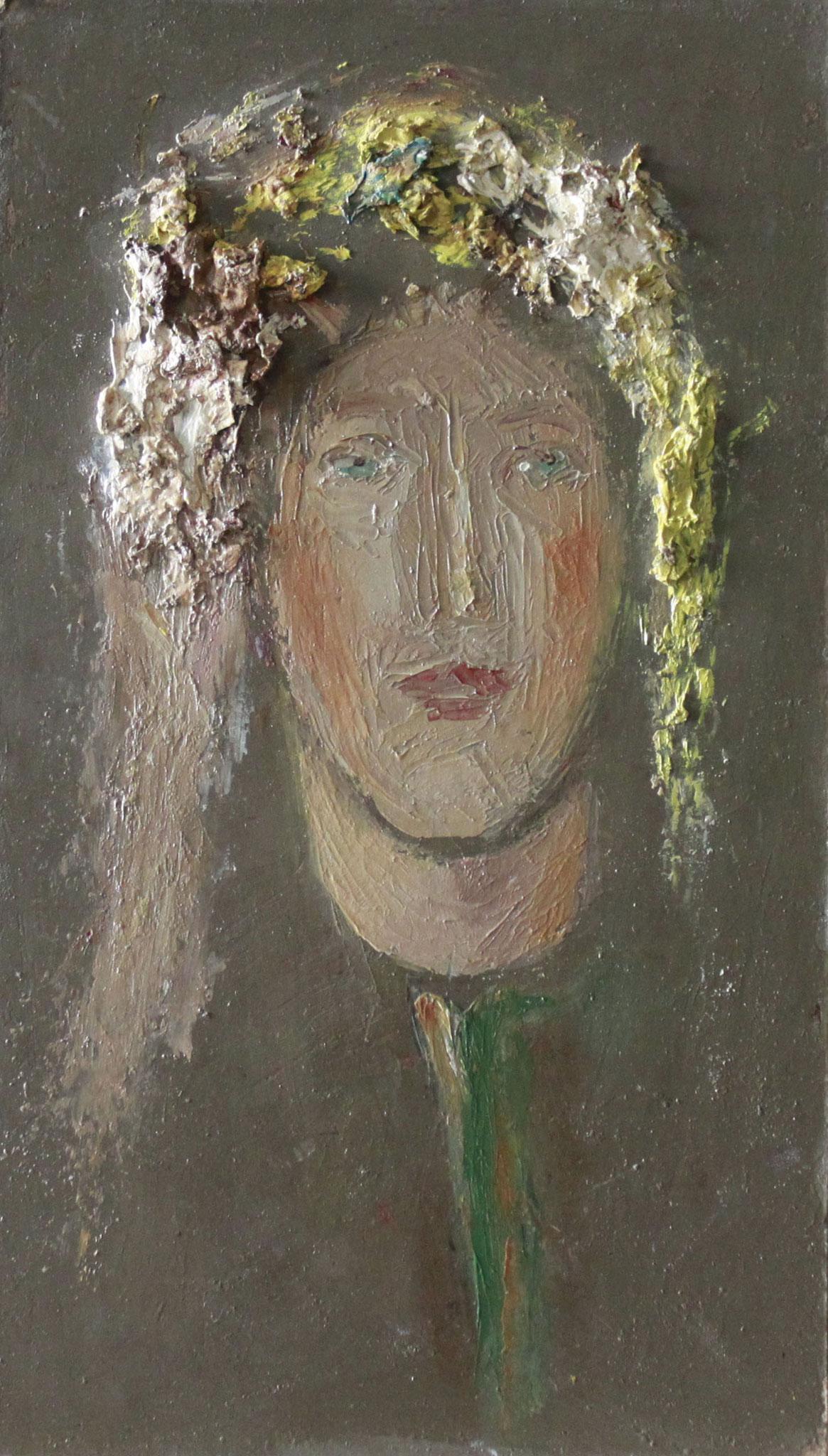 Девушка с желтыми волосами.       15х26 см.      Картон, масло.       1990-е годы.