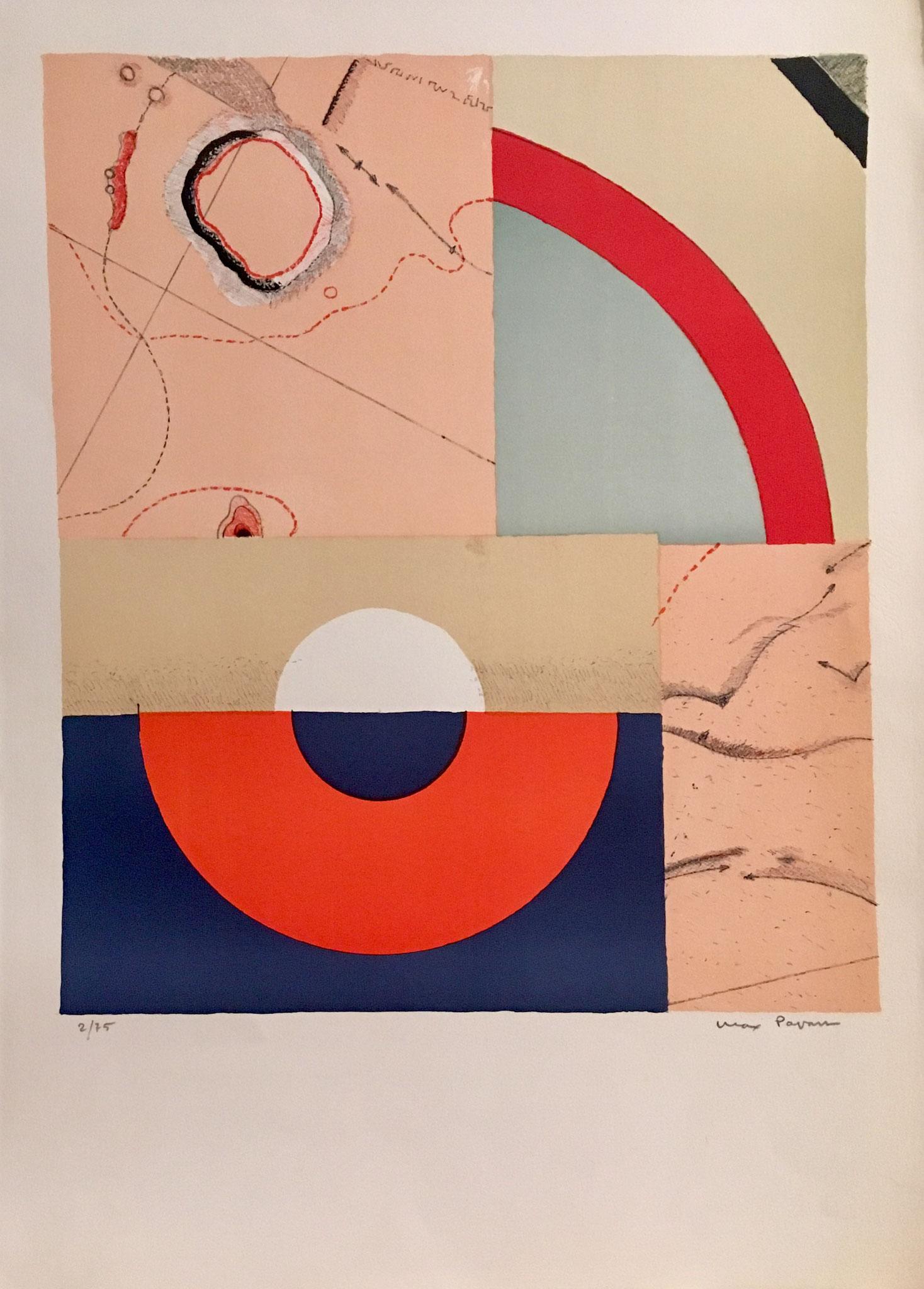 Max Papart  : theogonie, 1970,  lithographie , cat n43, signée et numérotée  2/75, 70,5x51 cm