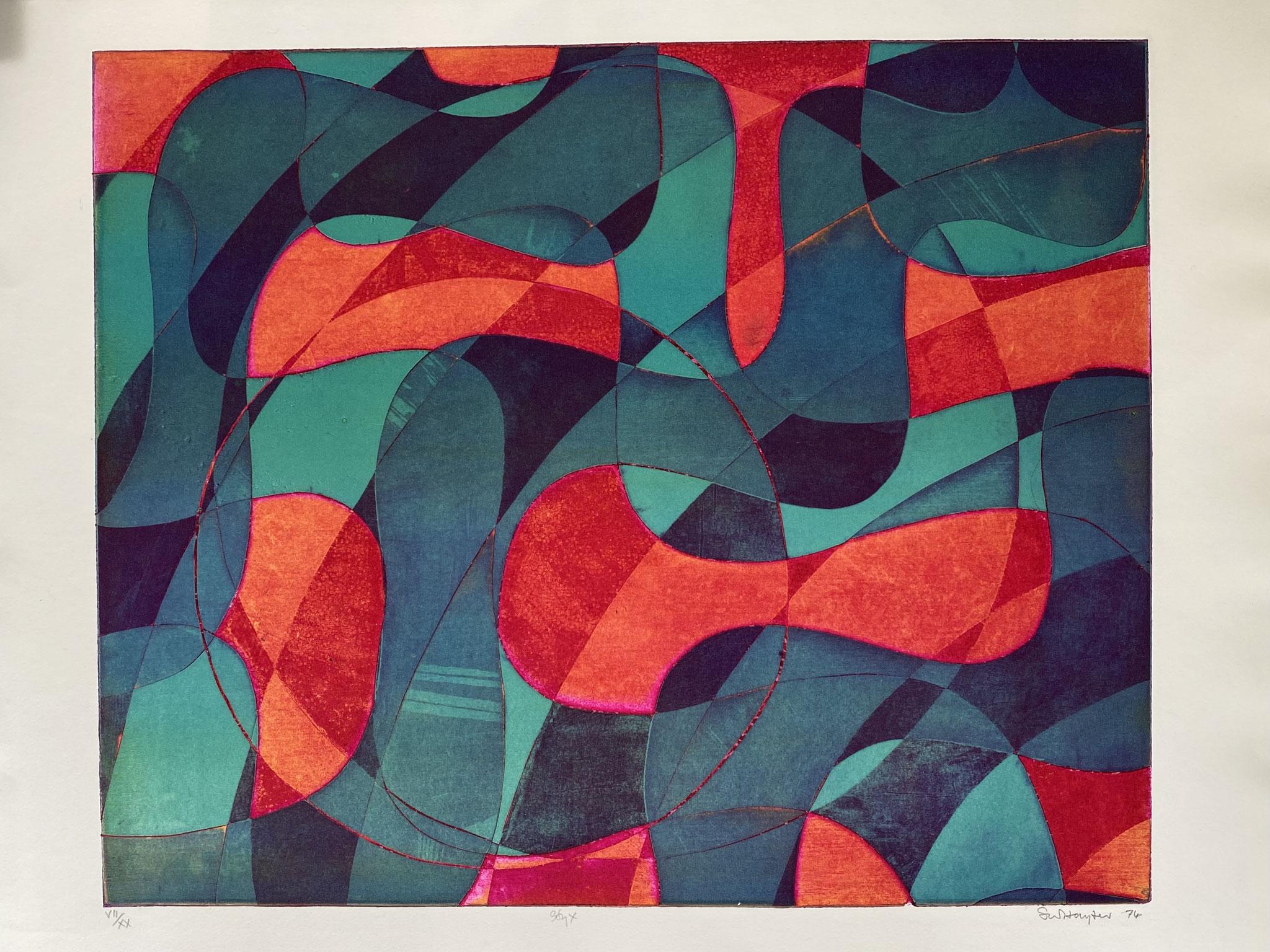 Stanley William HAYTER  (1901-1988) Styx , 1974 (Black& Moorhead n° 369) Eau-forte et vernis mou sur BFK Rives, titrée, datée, numérotée VII/XX et signée au crayon. Editions M'Arte, Milan,  Image: 48,5 x 59,2 cm Feuille : 75 x 55,5 cm