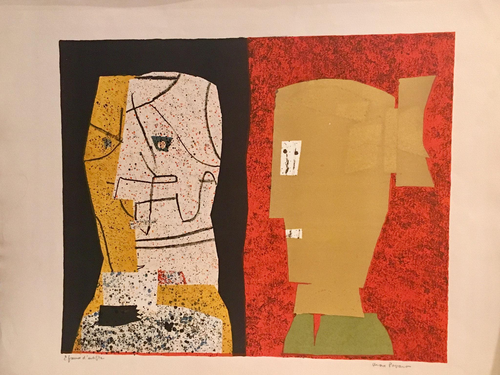 Max Papart : la lettre, 1968 catn°2, lithographie, signée et justifiée  épreuve d'artiste, 56,5x73 cm