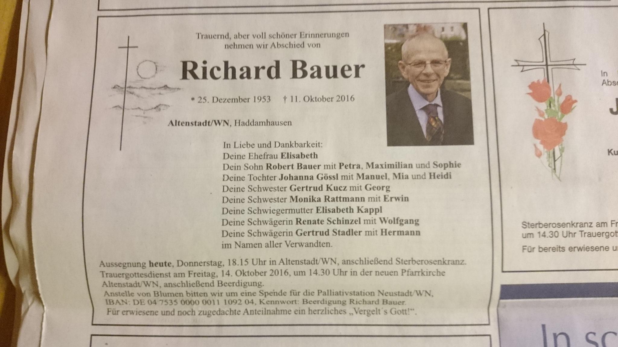 Richard Bauer, Todesanzeige