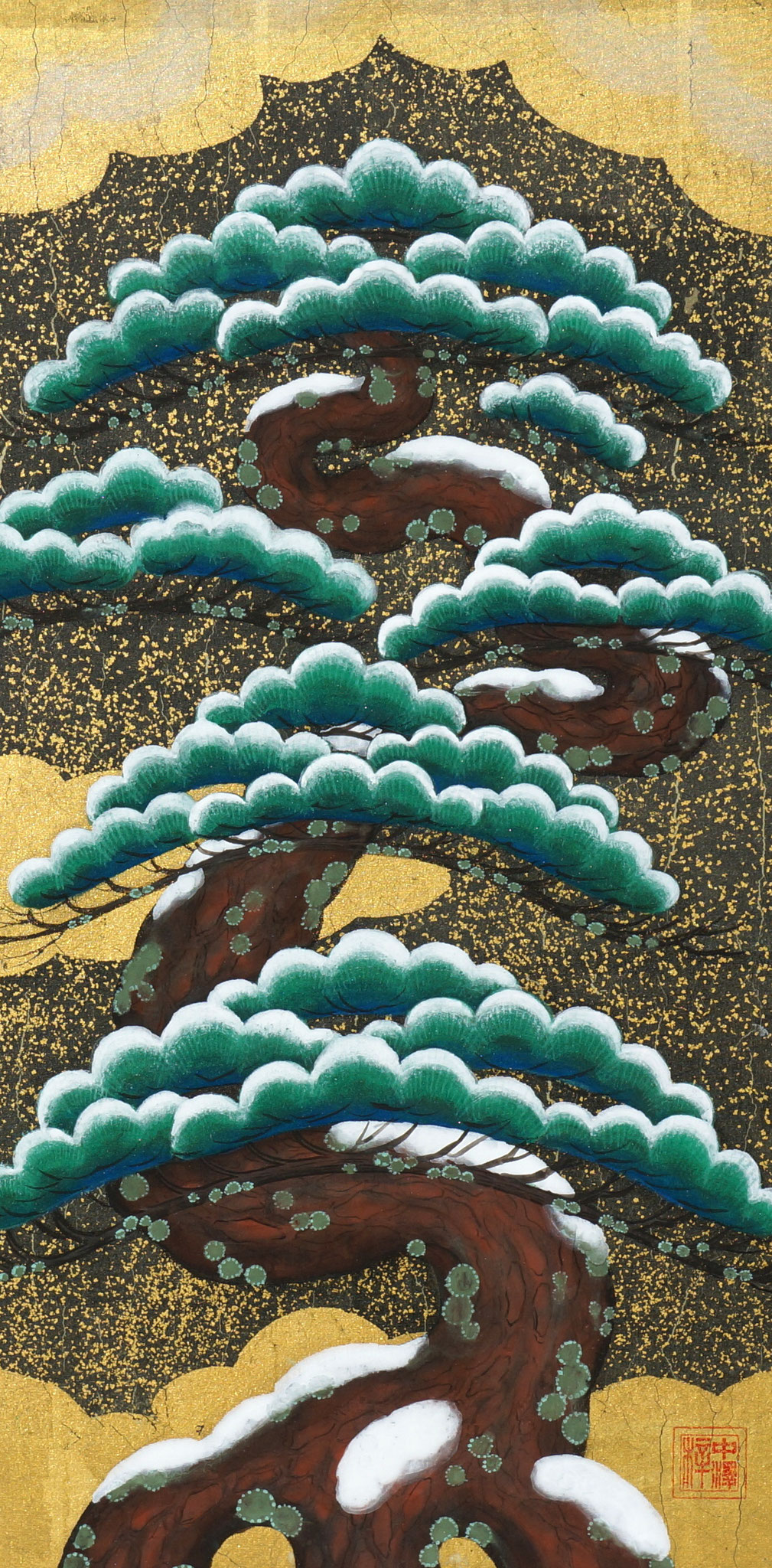 「松ーShoー」 絹本彩色・箔