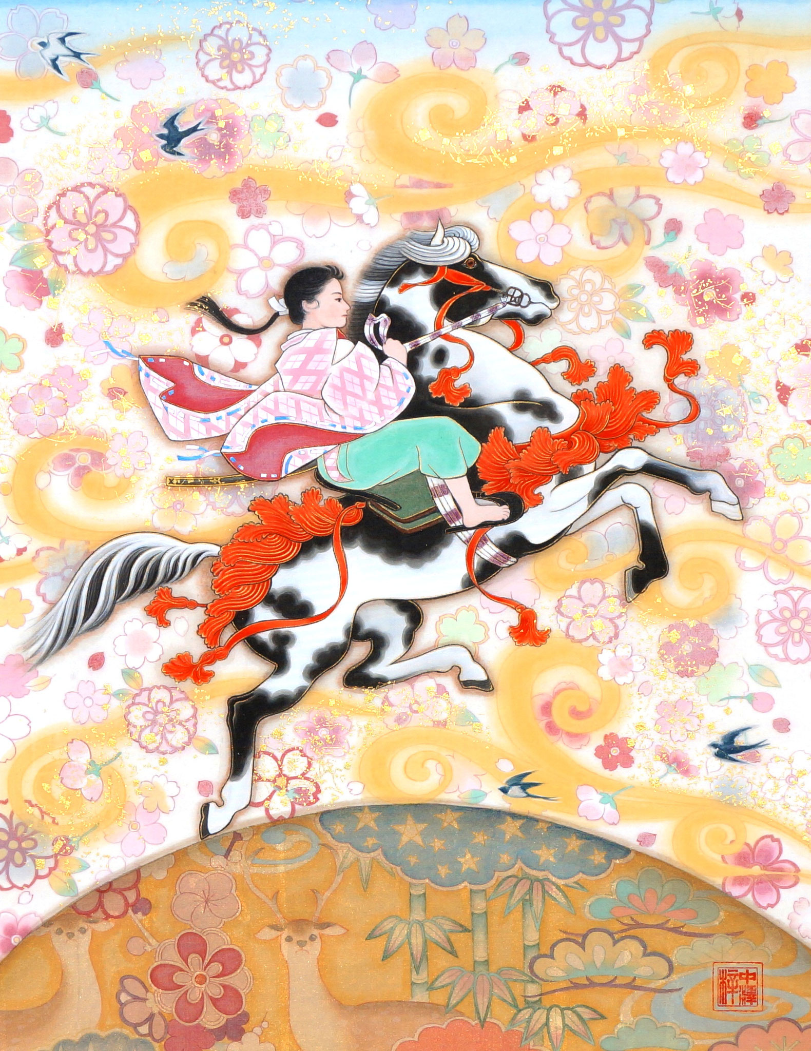 「RIDER~花嵐~」 F6号 絹本彩色・箔