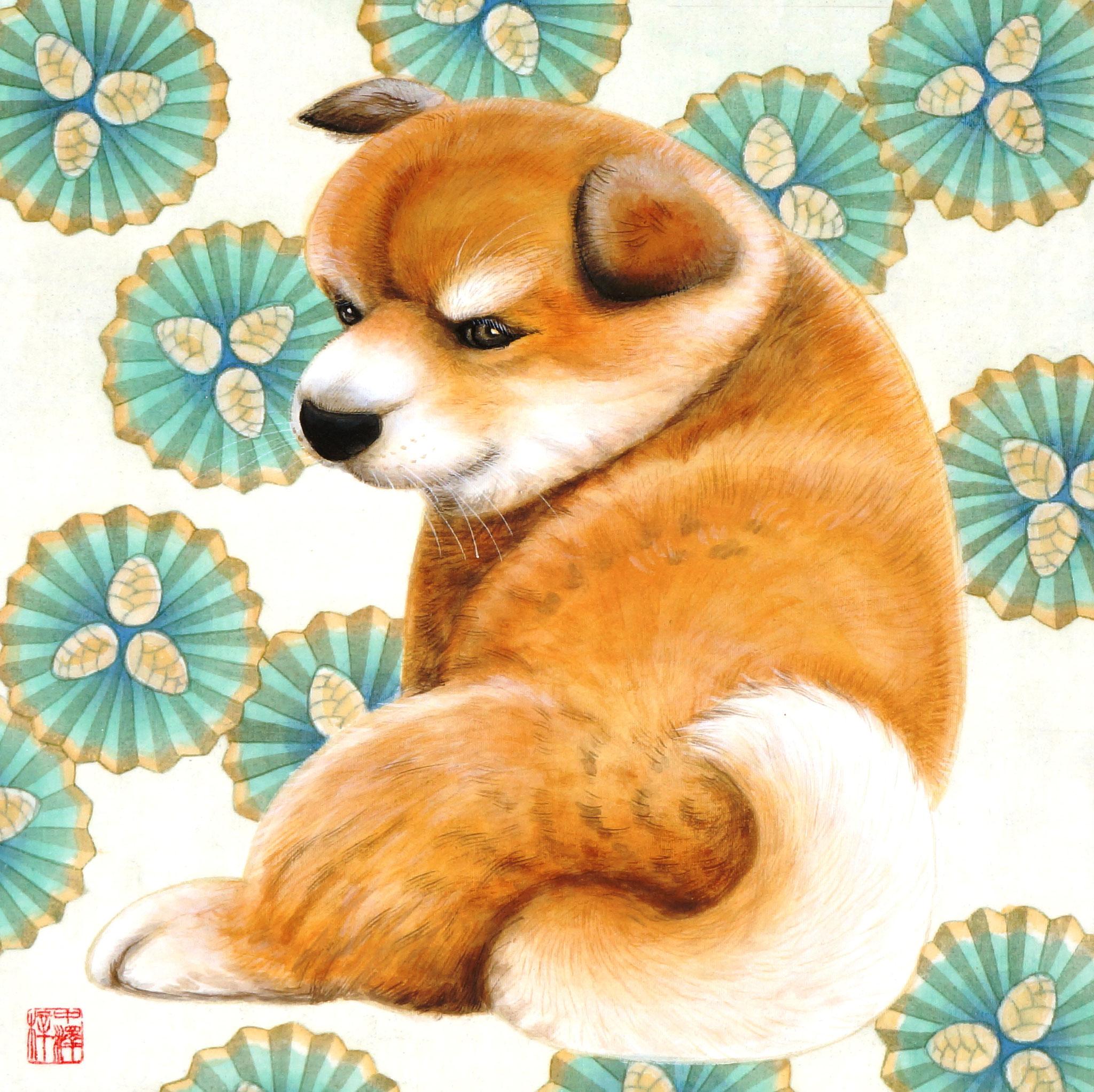 「秋田犬」 SSM号 絹本彩色・箔