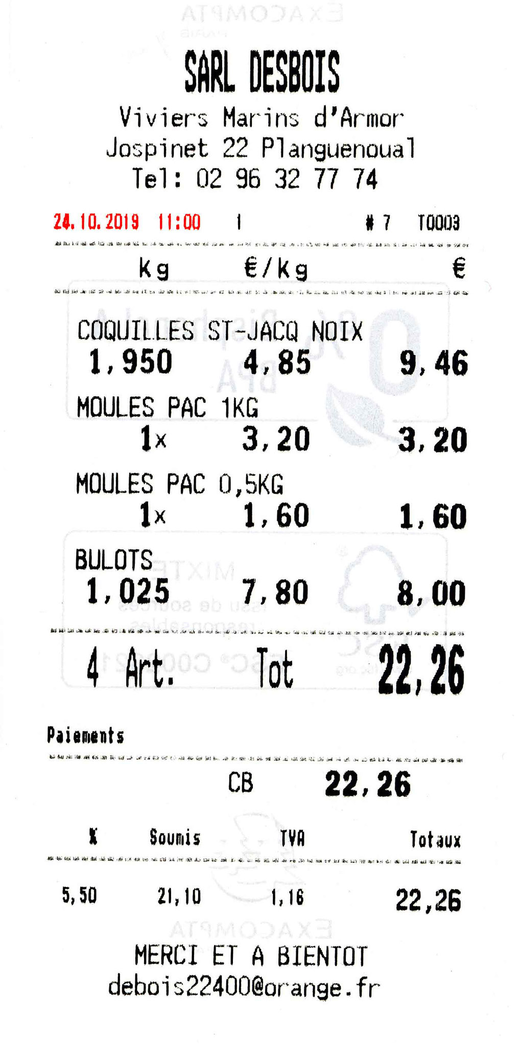Le ticket de caisse du 24 octobre 2019