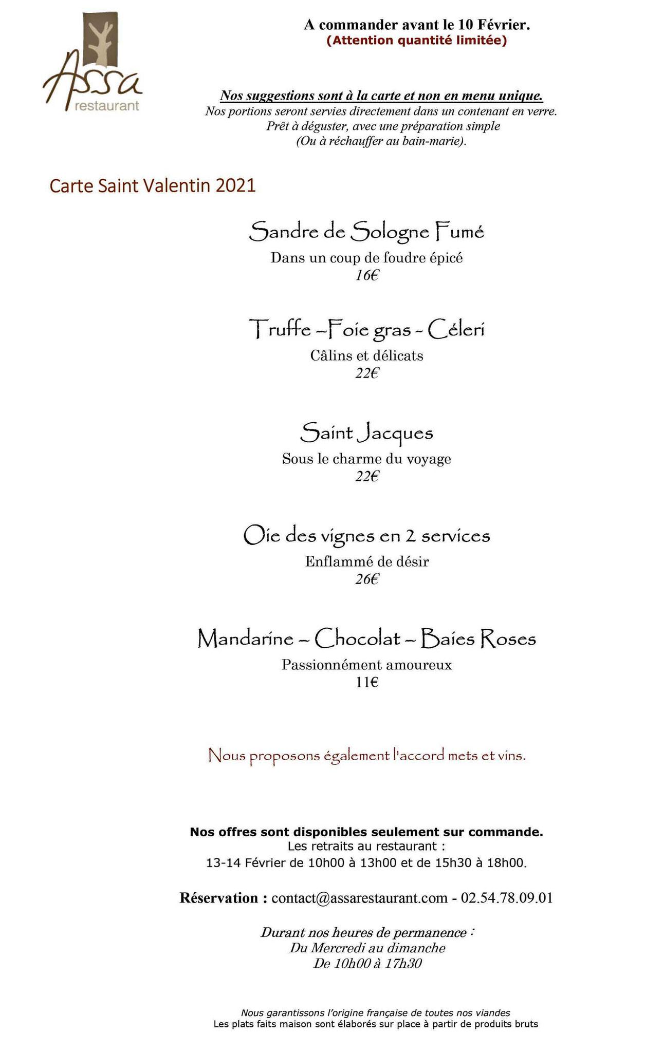 Les plats proposés pour la Saint-Valentin