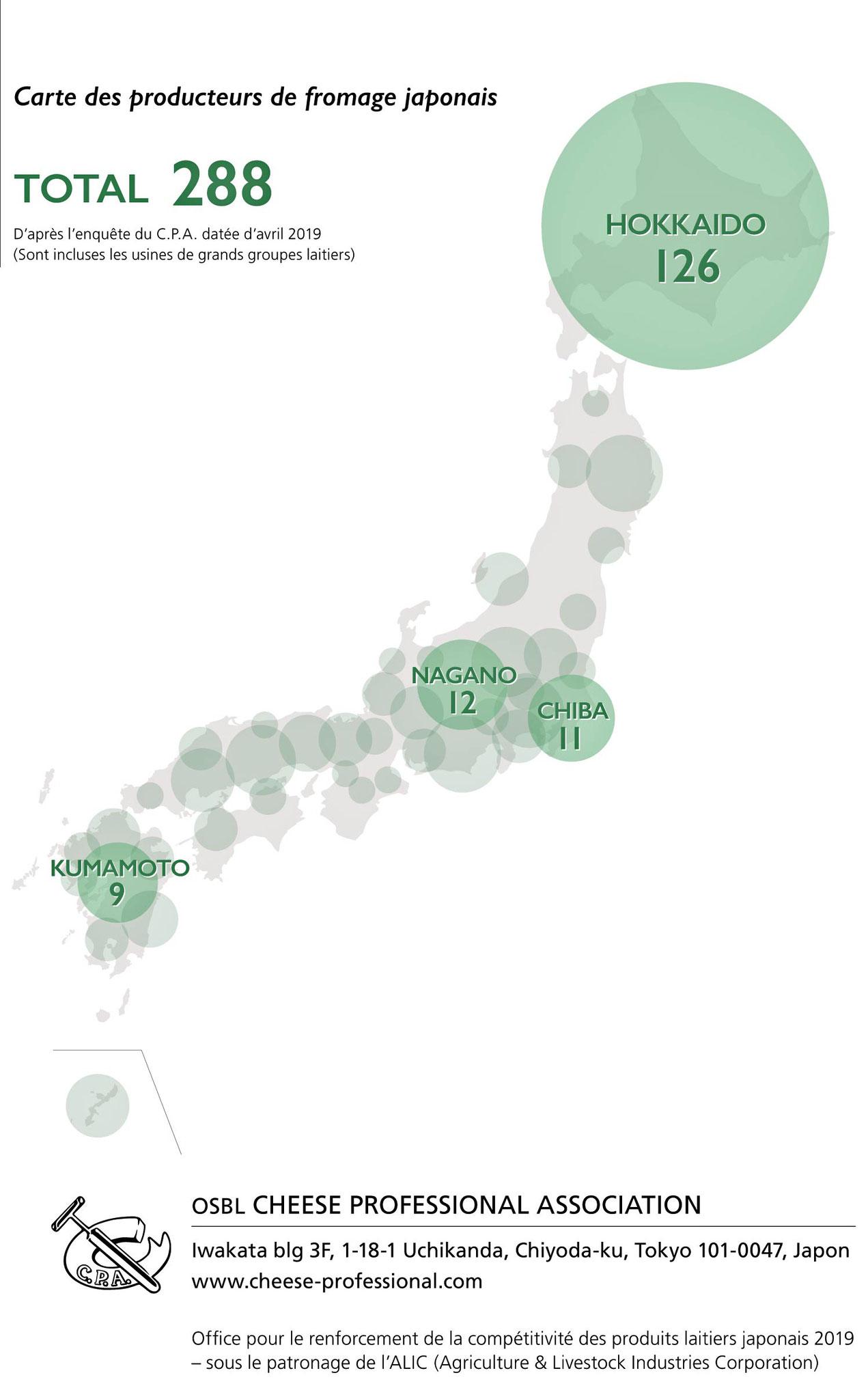 Carte des producteurs de fromages japonais - Crédit photo : www.cheese-professional.com