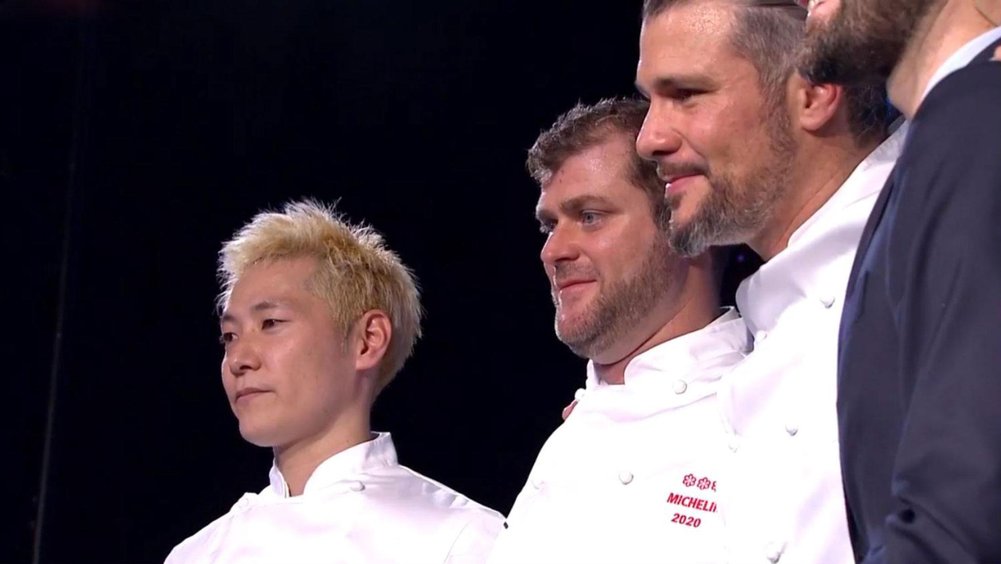 Les trois nouveaux chefs 3 étoiles : Kei Kobayashi restaurant Kei - Christopher Coutanceau restaurant Christopher Coutanceau - Glenn Viel restaurant l'Oustau de Baumanière)