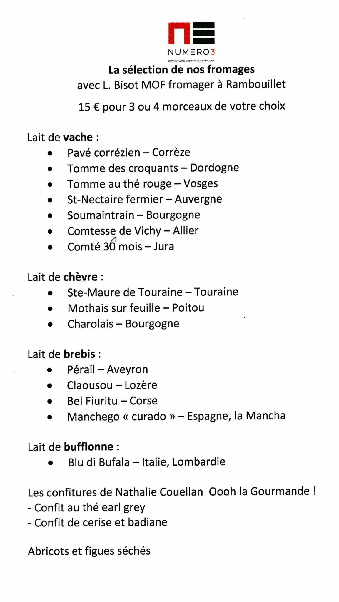 Liste des fromages disponibles