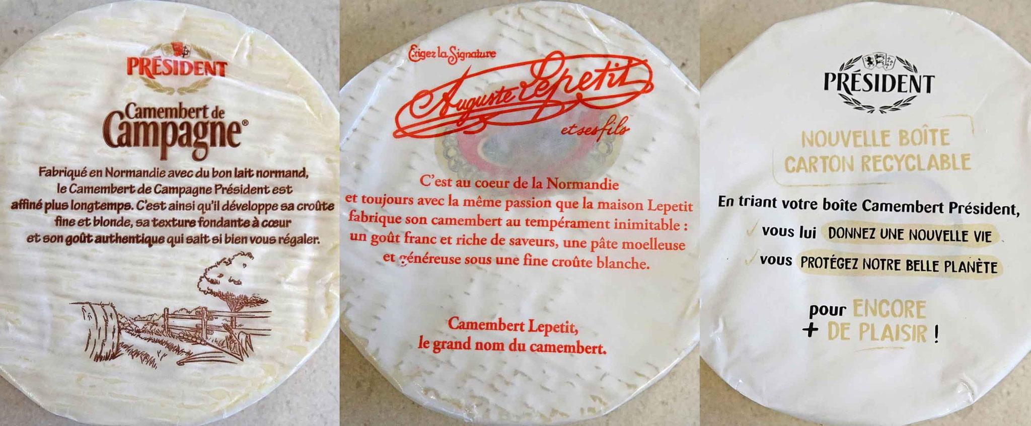 Camemberts Président et Lepetit achetés le 23 janvier 2021