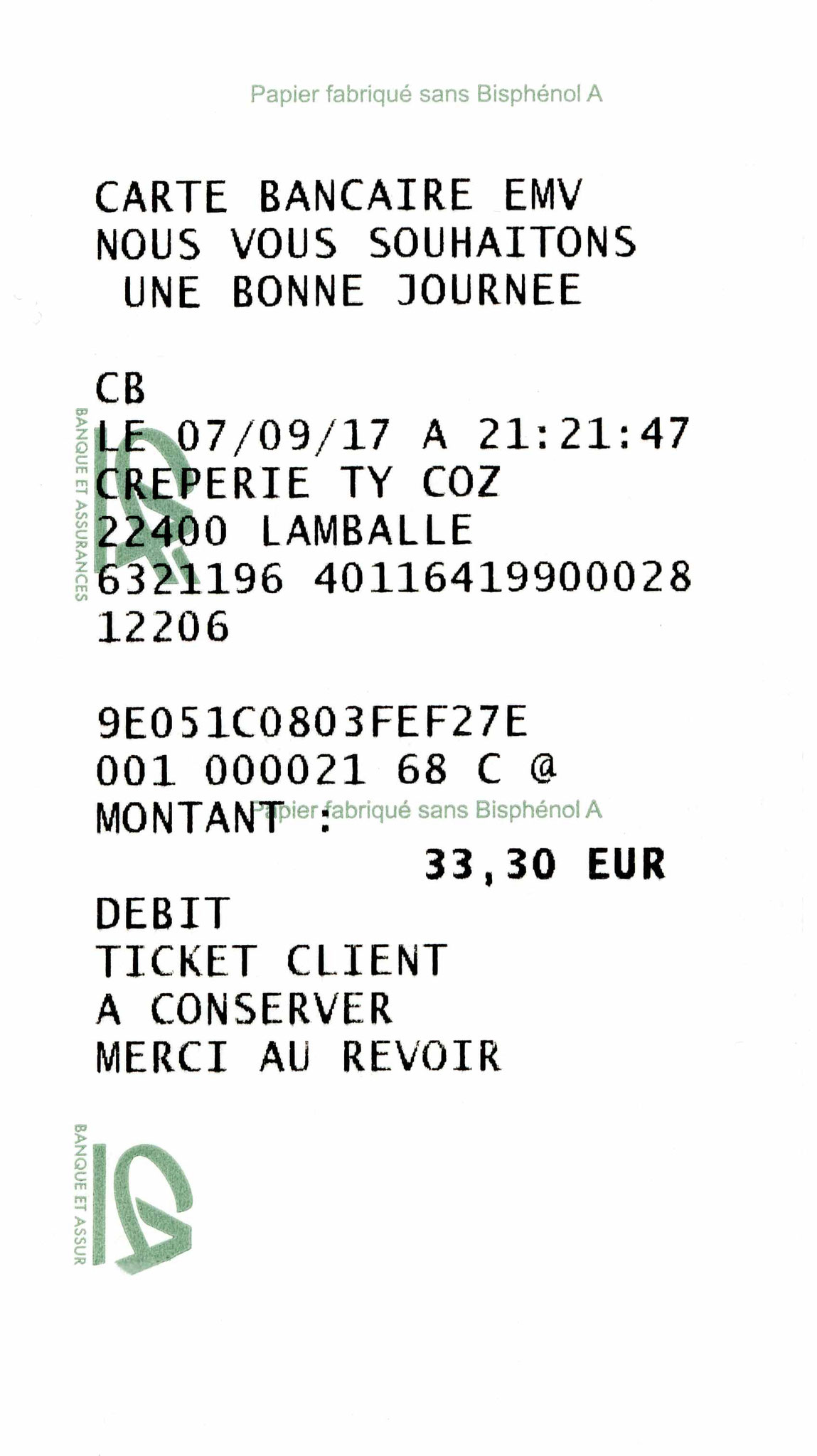 Faute de note, le ticket de CB