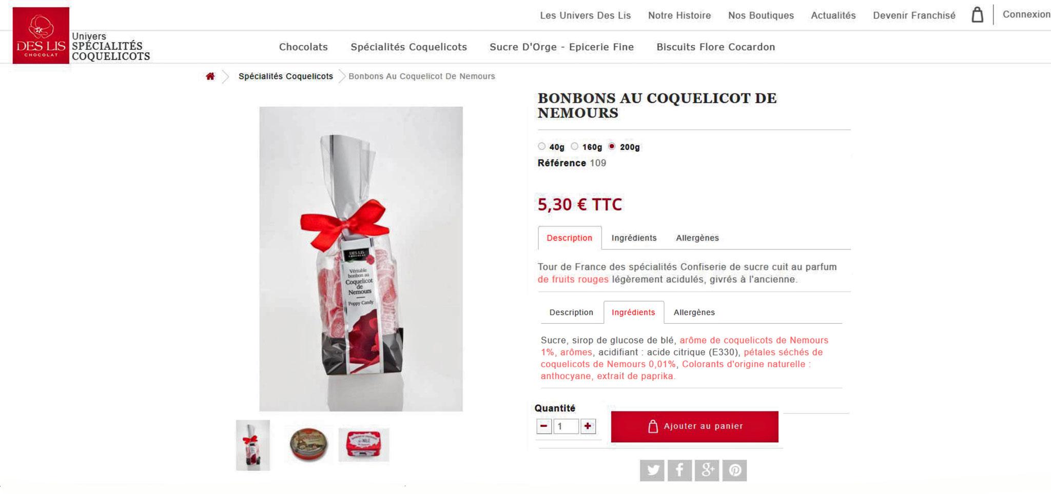 """Exemple de contenu publicitaire de """"Des Lis Chocolat"""" à Nemours"""