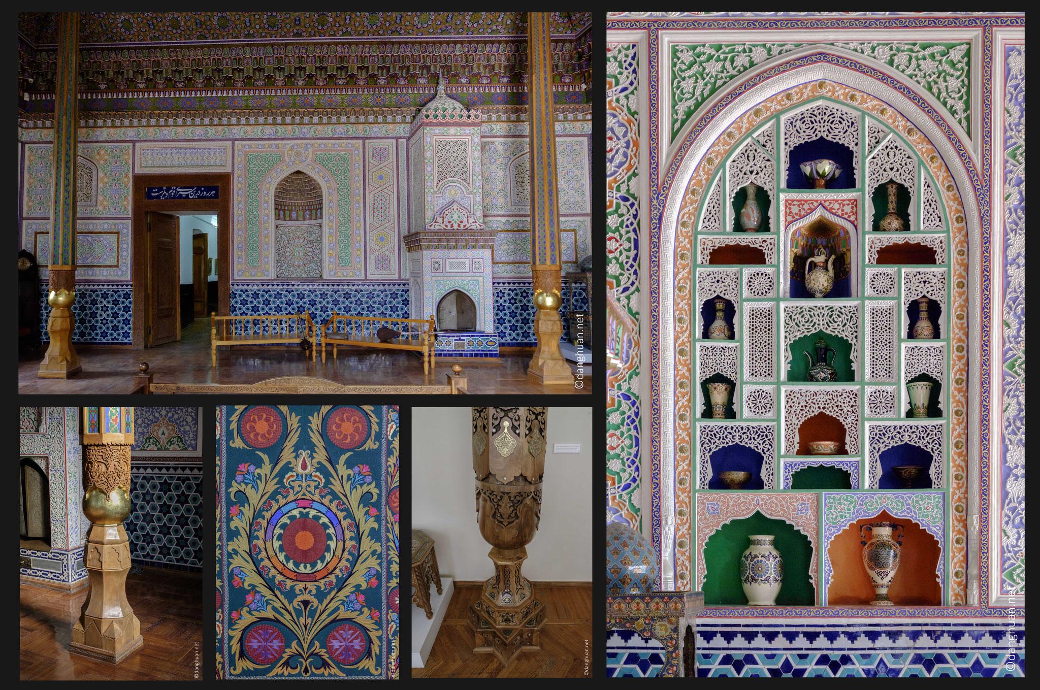 """Musée des arts appliqués : dans la salle d'exposition sont présentées les """"suzannés"""" (draps brodés) et """"do pi"""" (calottes brodées), des poteries et des céramiques"""