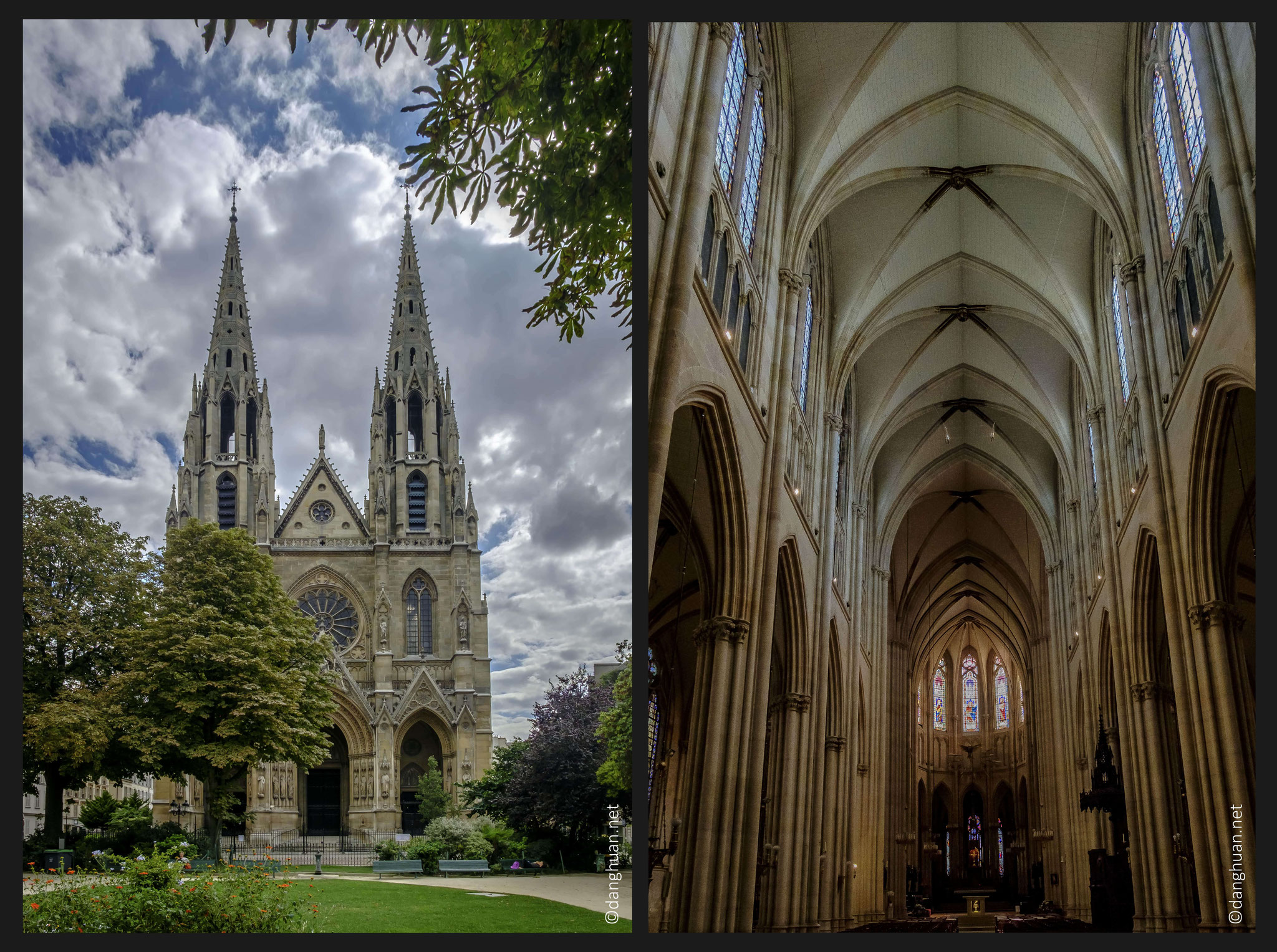 Basilique Sainte Clotilde - de style gothique ogival, début de construction : 1846, architectes : François Chrétien Gau puis Théodore Ballu