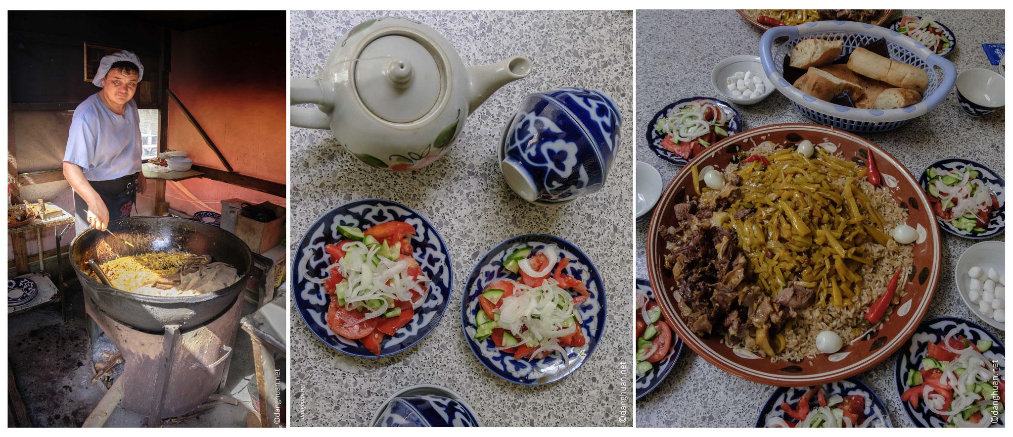 Plov : plat narional Ouzbek, consommé le jeudi et dimanche, est composé de riz, carottes confites, raisin sec, viande (boeuf, mouton, poulet, cheval), piment, huile de coton et de lin, toujours acompagné par une salade