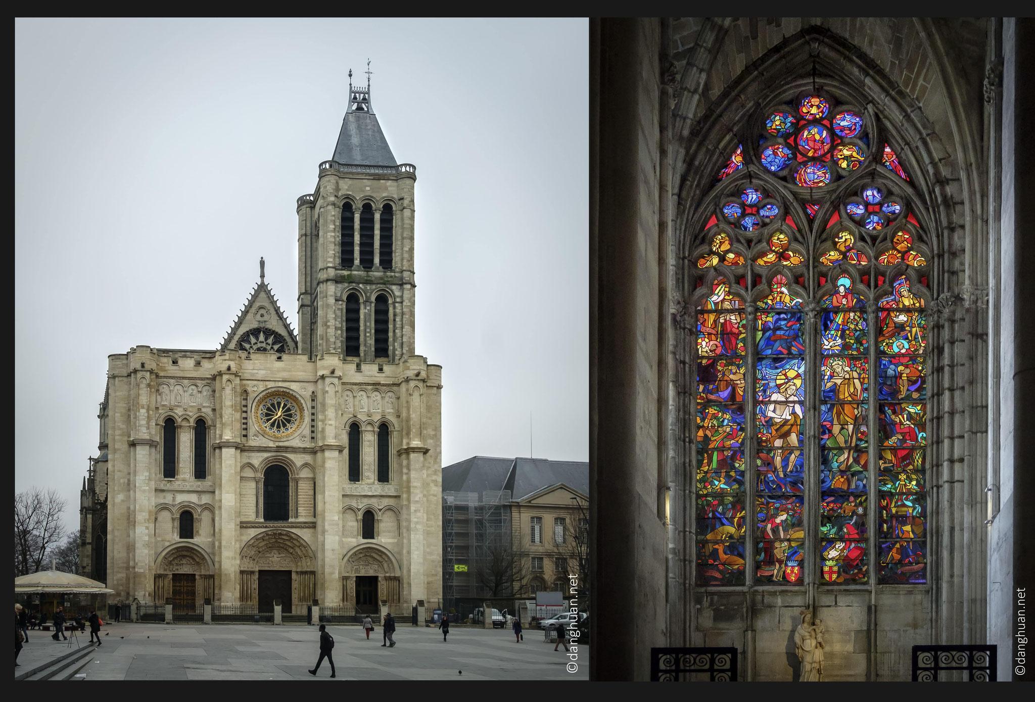 Basilique Cathédrale St Denis - Nécropole des rois de France ,  la façade date de 1135-1140 et le chevet de 1140-1144, les autres parties de l'église actuelle édifiées au temps de Saint Louis de 1230 à 1280, témoignage de l'apogée de l'art gothique