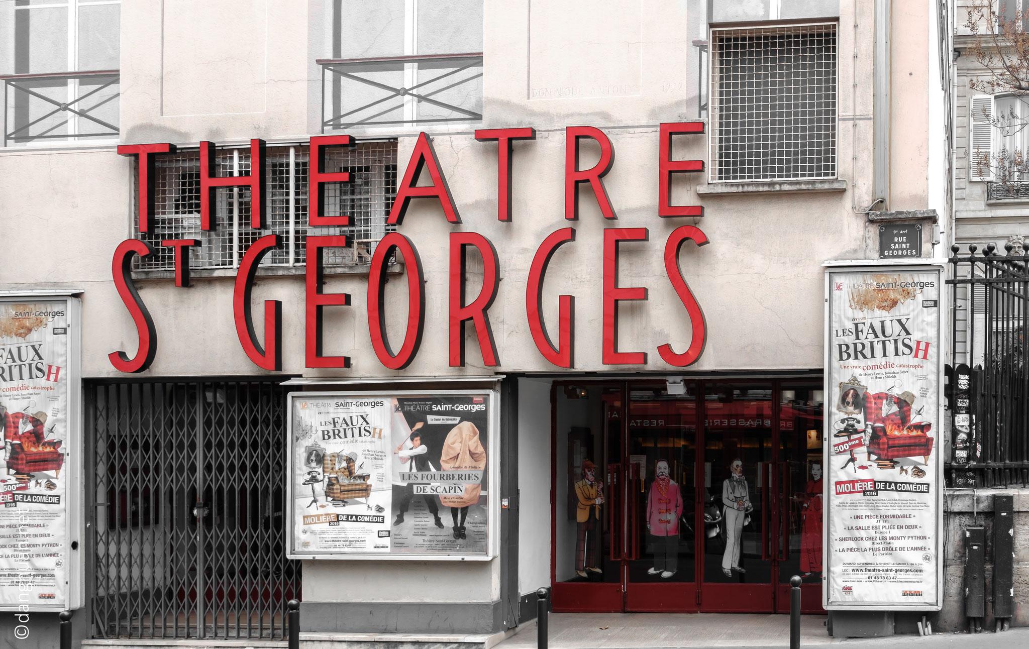 Théâtre St Georges (fondé en 1929) à la façade peinte en trompe l'oeil où Truffaut tourna 'Le Dernier Métro'