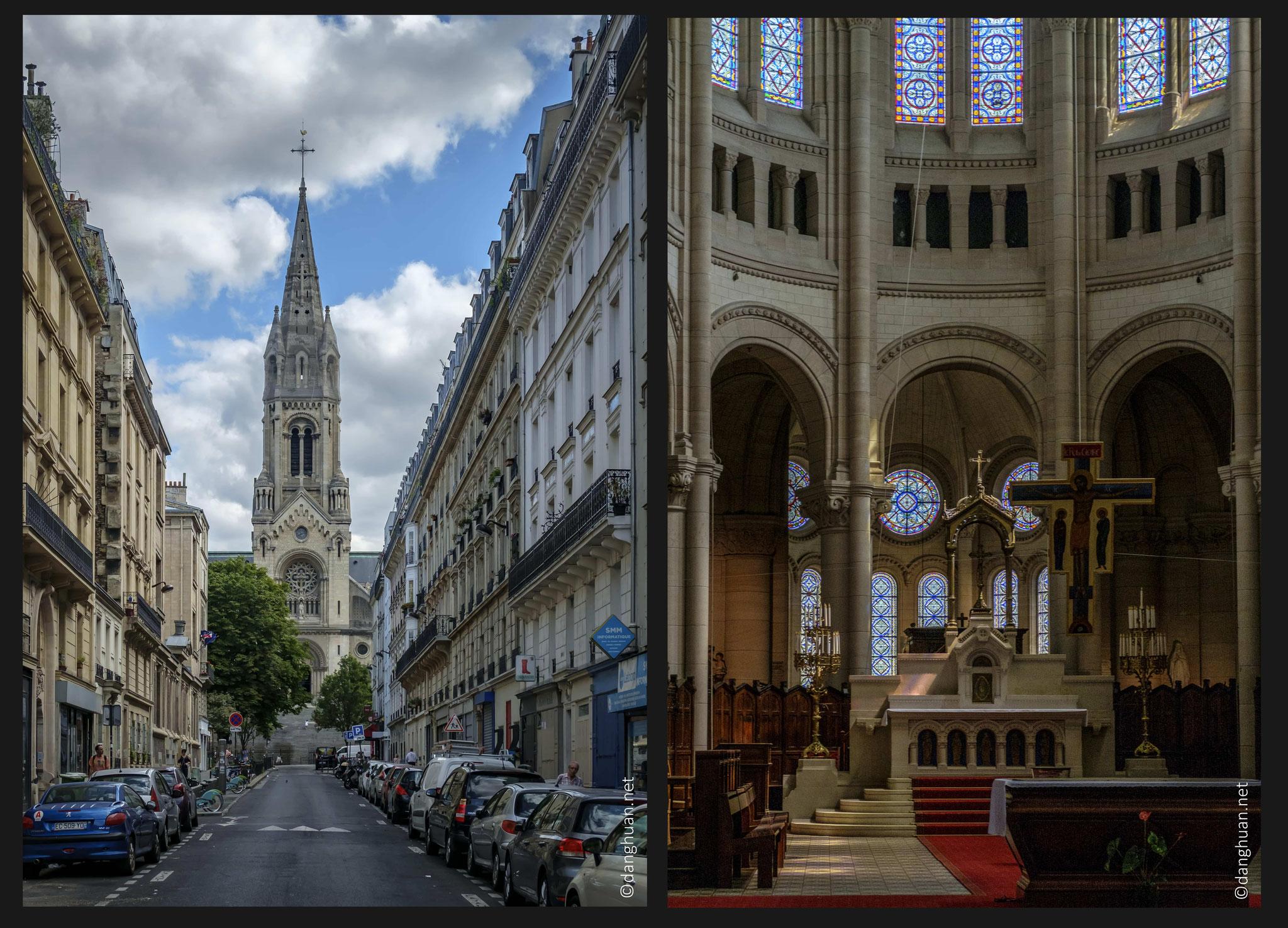 Eglise Notre Dame de la Croix - Située sur une pente (rue Ménilmontant), elle a nécessité la construction d'un perron de 54 marches