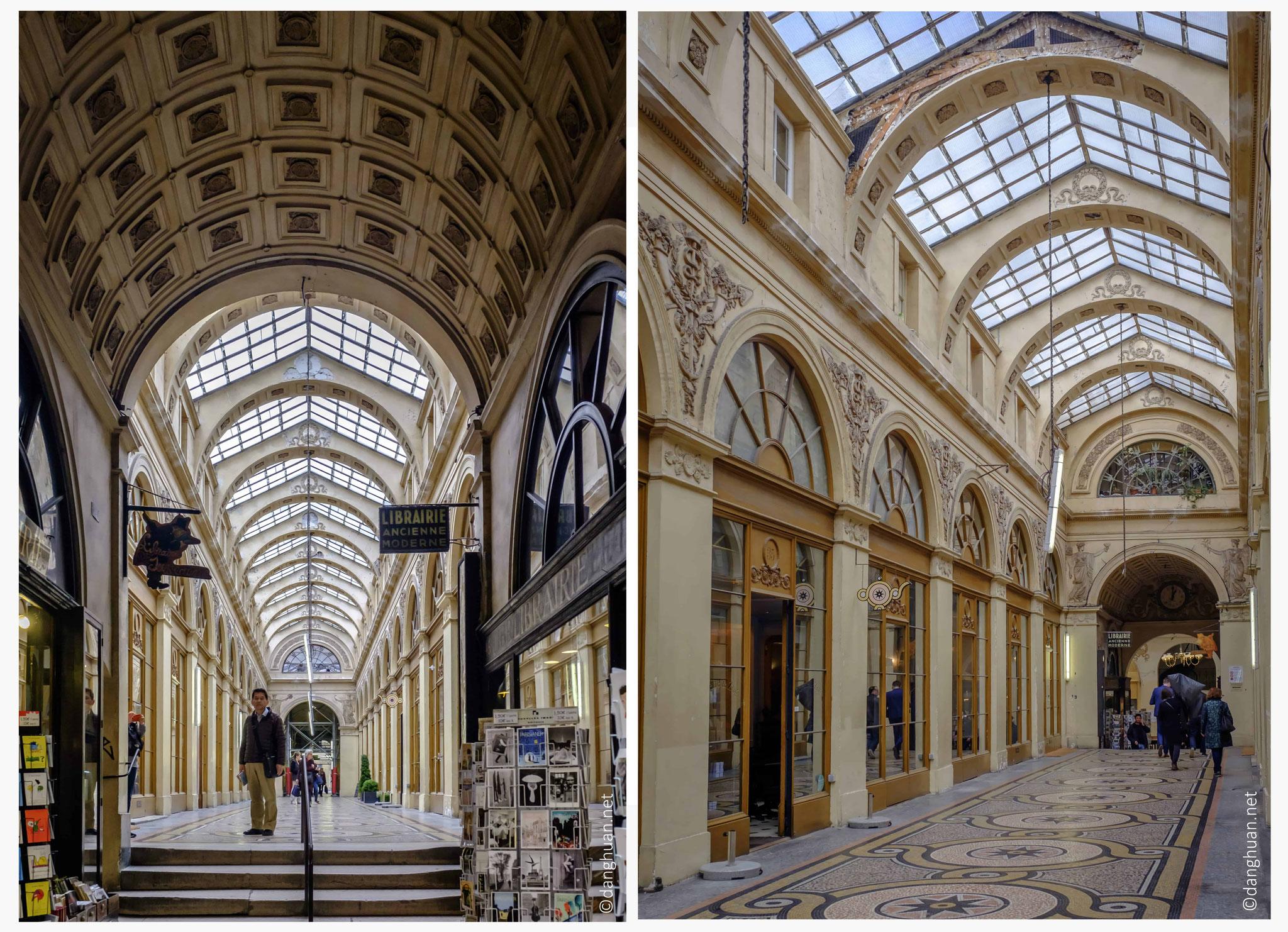 la Galerie Vivienne dispose d'une belle verrière lumineuse et des mosaïques colorés au sol...