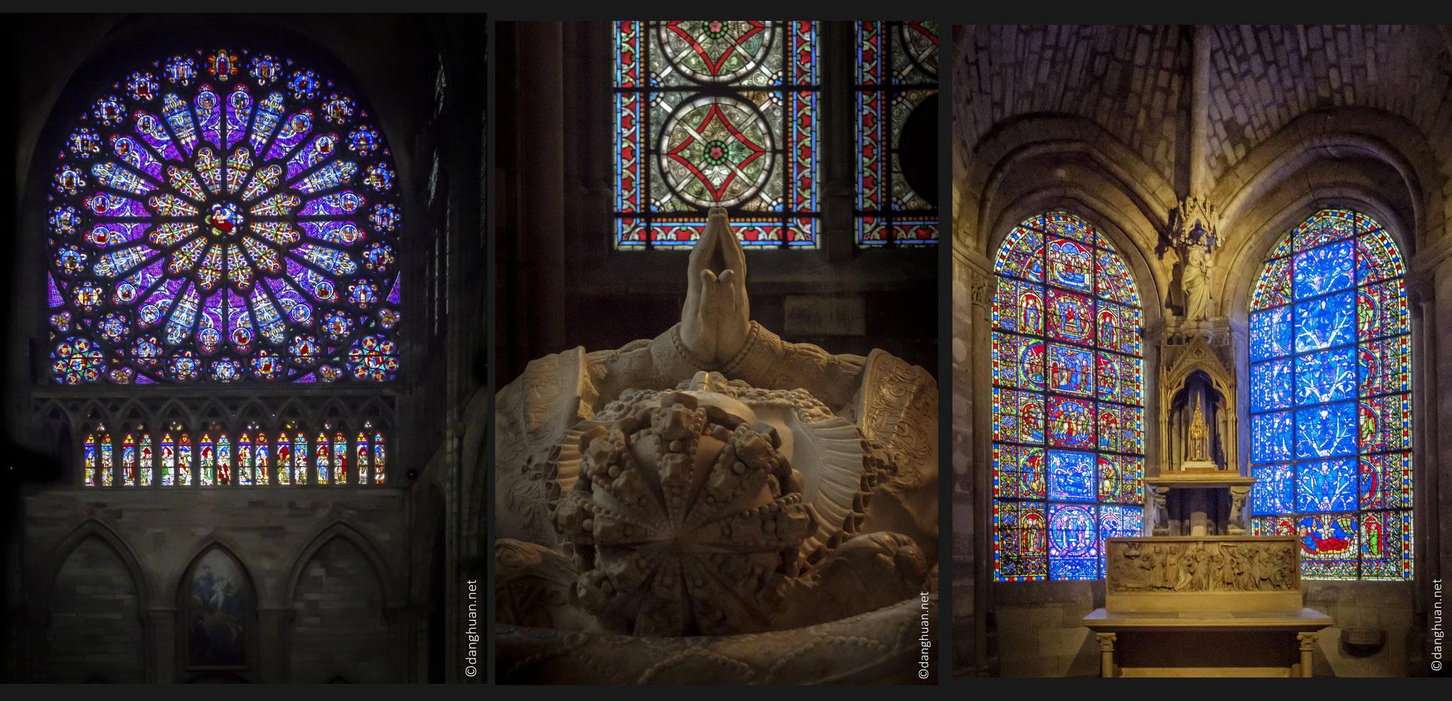 Basilique St Denis - les vitraux de l'abbée Suger, épargnées par la Révolution, elles sont ensuite très endommagées puis remontées au XIXe siècle