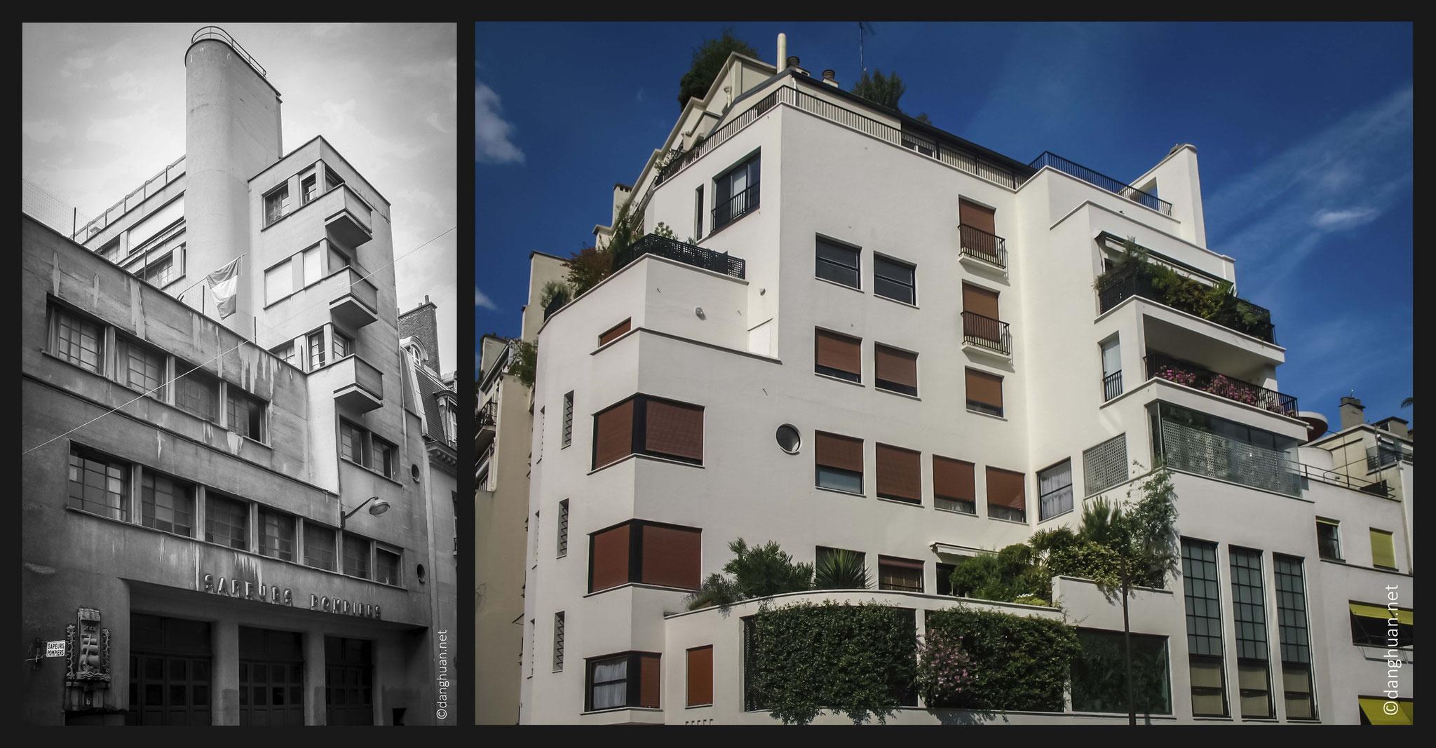 Architecte :  Mallet Stevens - Caserne Pompiers au 8 Rue Mesnil (1936), immeuble dans une rue privée (1927)