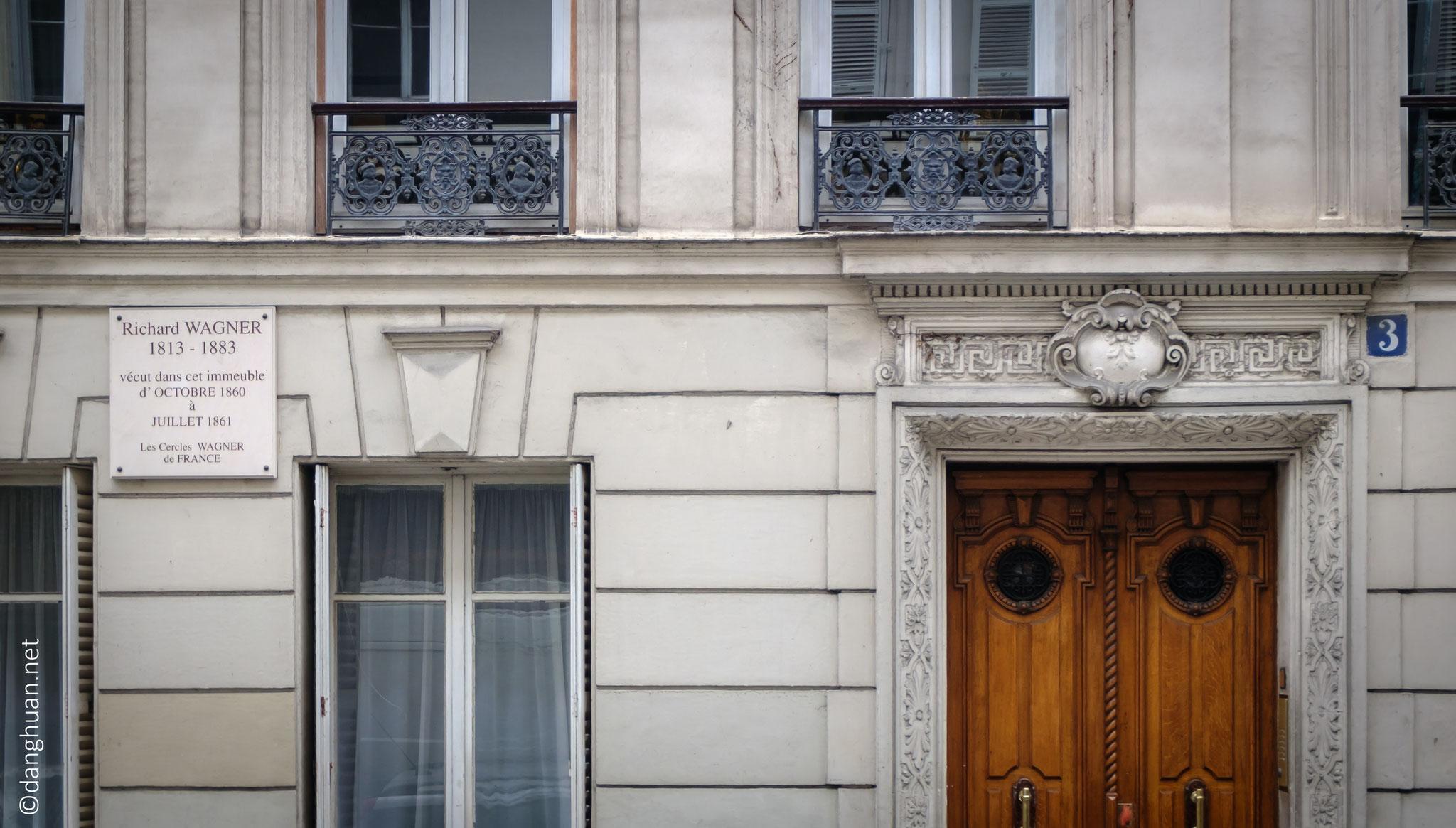 Immeuble où vécut Richard Wagner entre 1860 et 1861 - Rue d'Aumale