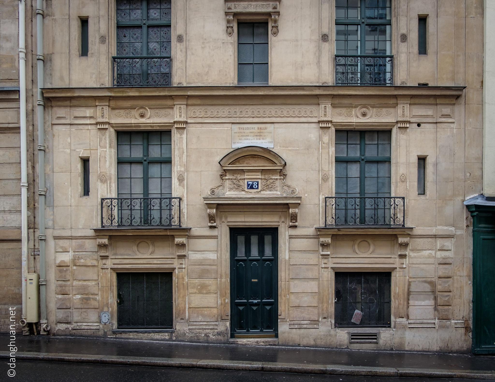 Maison de Théodor Ballu (1817-1885) 80, rue Blanche   : Architecte français,  qui a construit l'Eglise de la Trinité et l'Hôtel de ville
