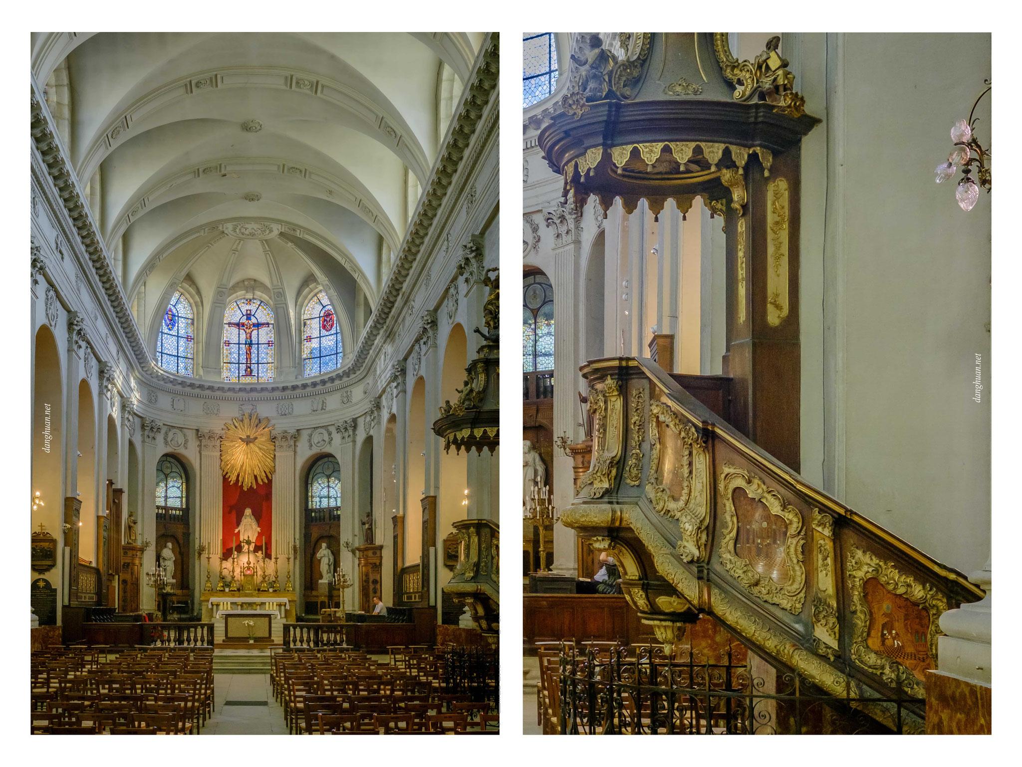 Notre-Dame-des-Blancs-Manteaux avec sa magnifique chaire d'origine flamande datée de 1749, classée au patrimoine national