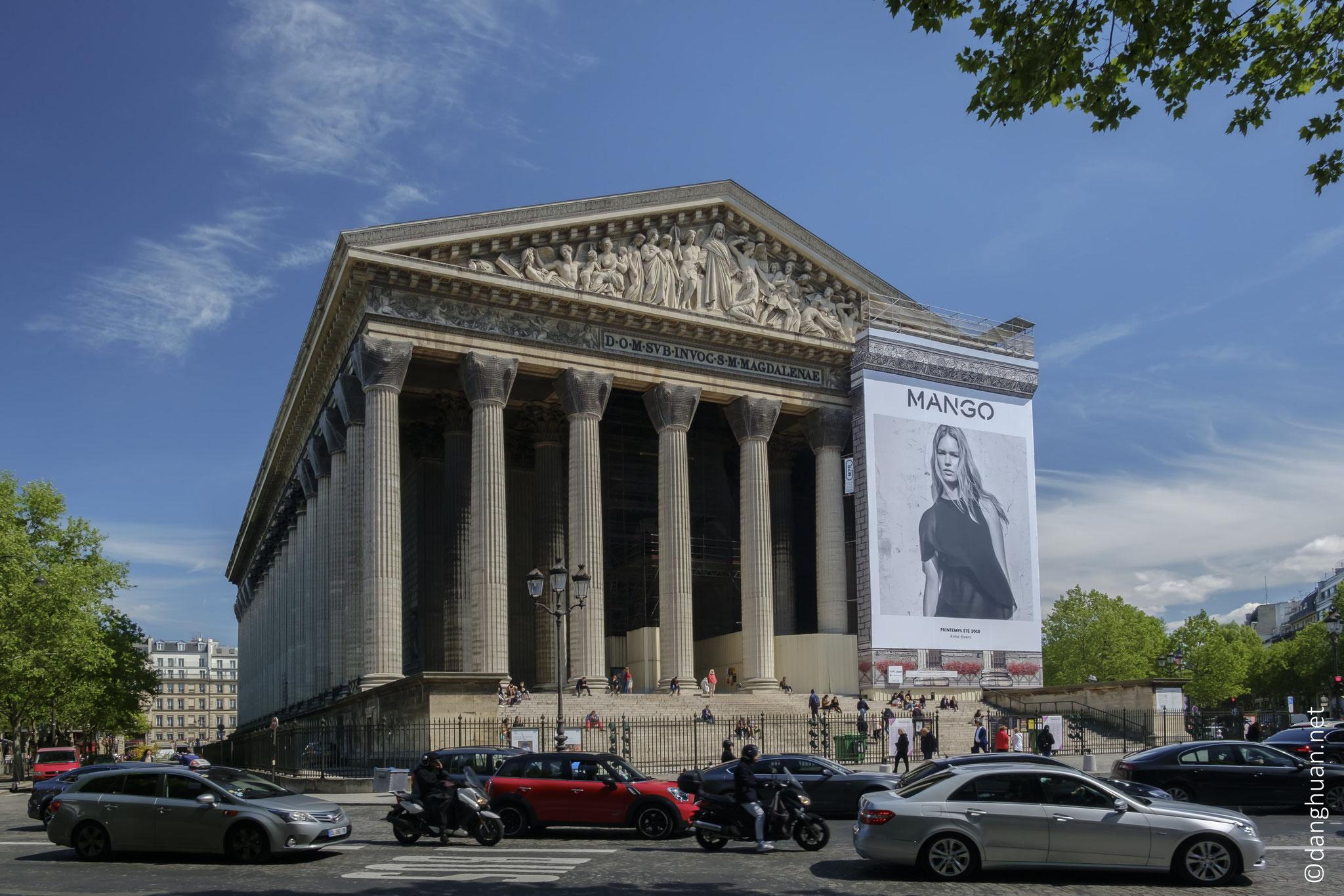 Eglise de la Madeleine  - située dans le 8ème arrondissement de Paris, 108 m de longueur, 43 m de largeur, 30 m de hauteur
