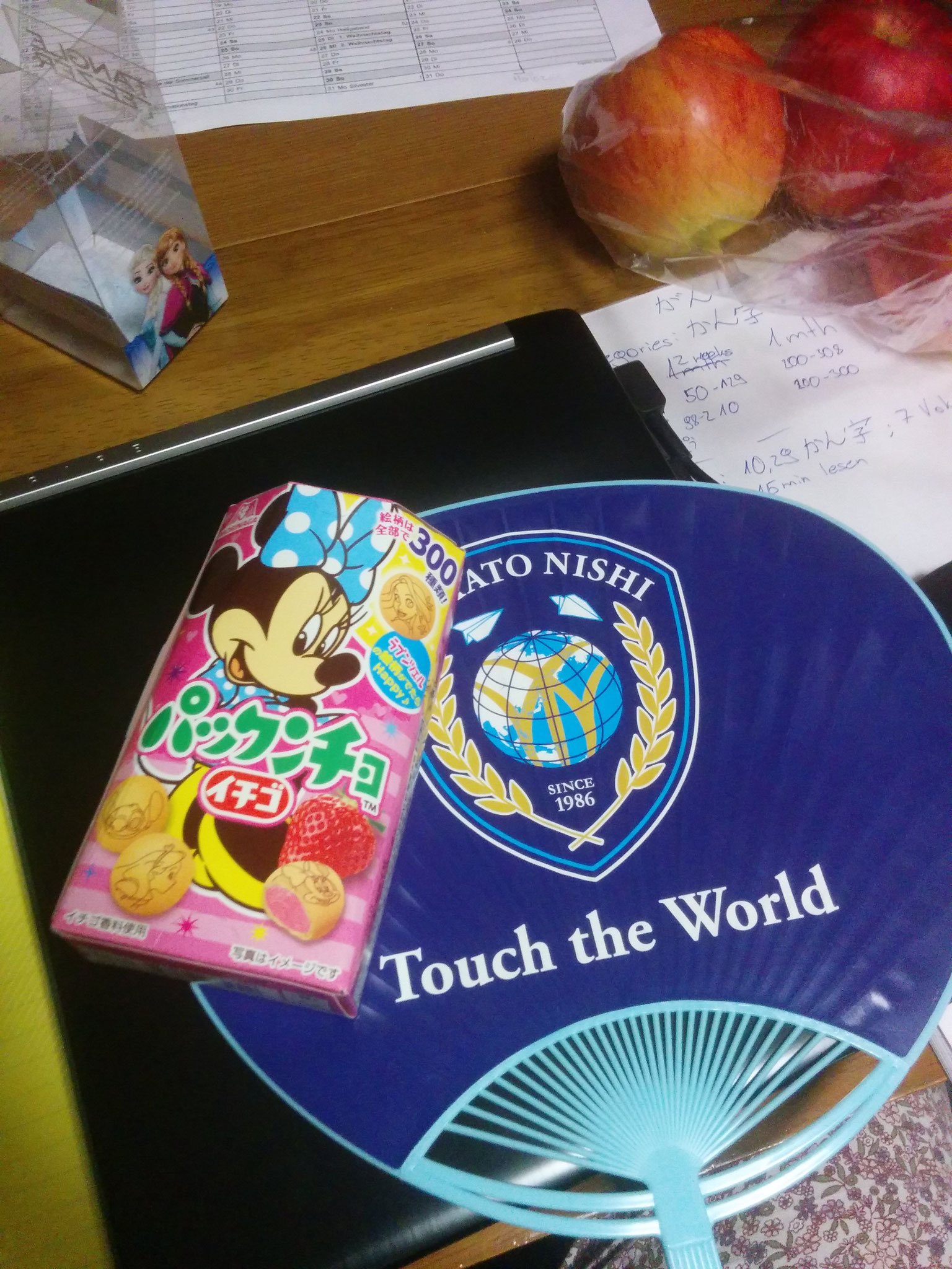 9 sweets I got from the girl I use to walk to school with (THANK YOU) and the fan I lost the next day :(