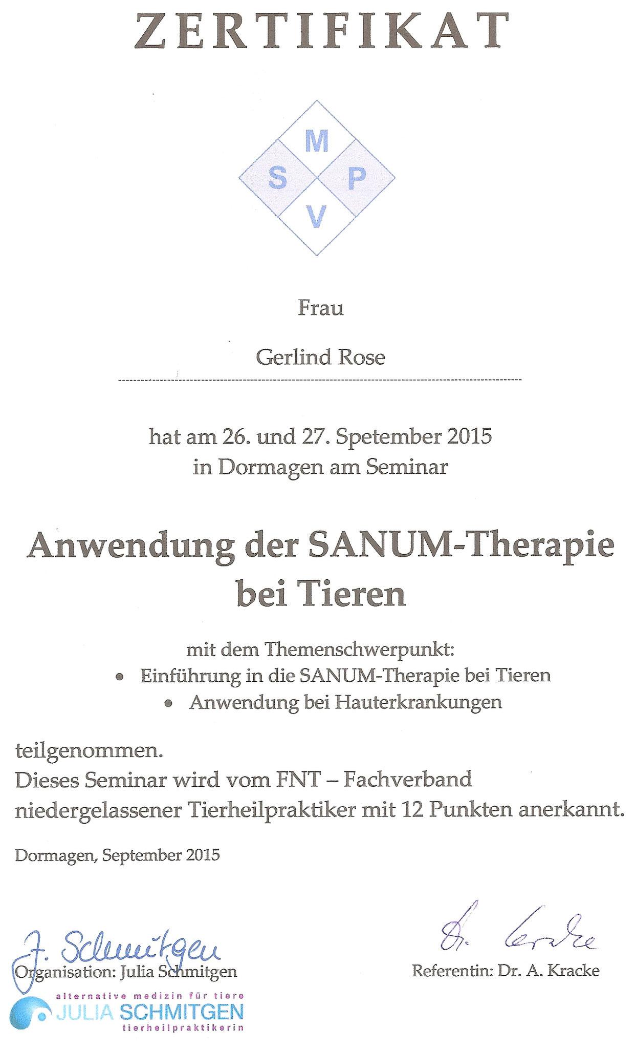 Sanum-Therapie-Zertifikat