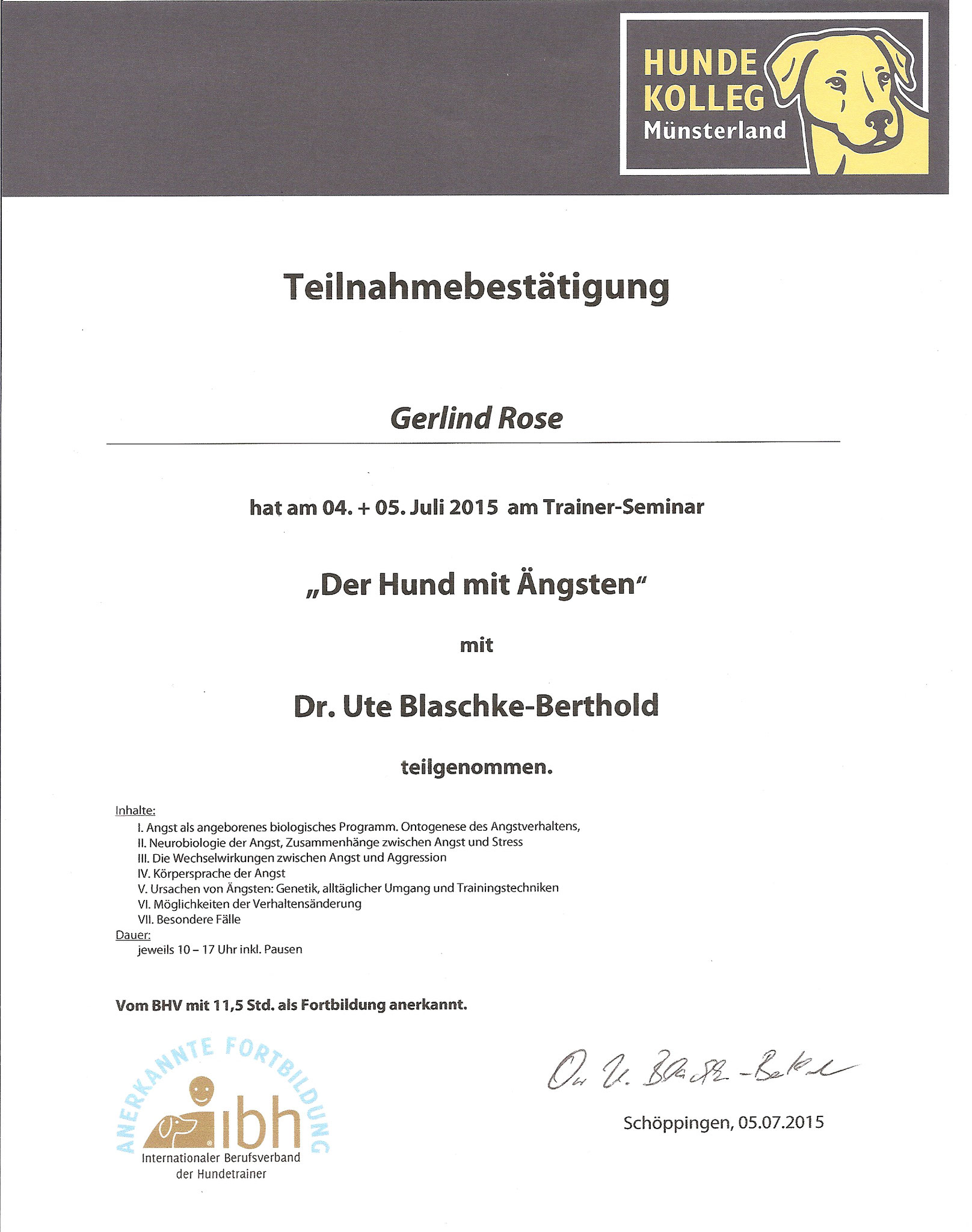 Der Hund mit Ängsten - Dr. U. Blaschke-Berthold